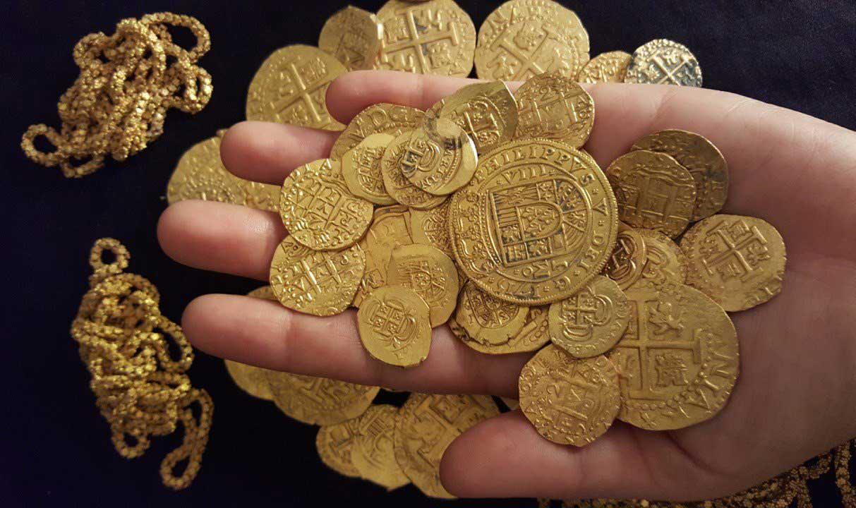 Gold coins and treasure recovered from an 18th century Spanish shipwreck off Florida.