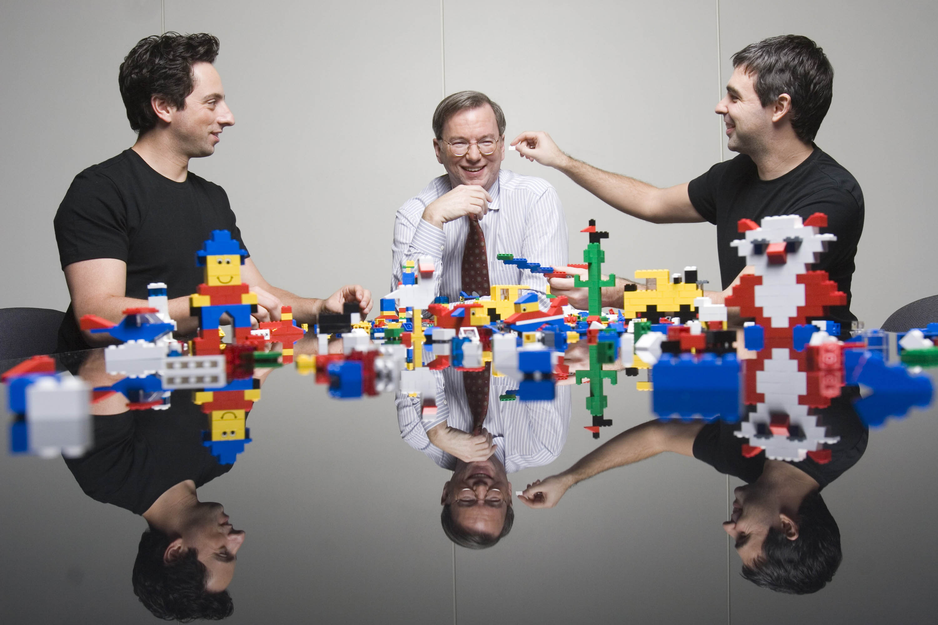 Google co-founders Brin and Page with then CEO Eric Schmidt, center, in 2006.