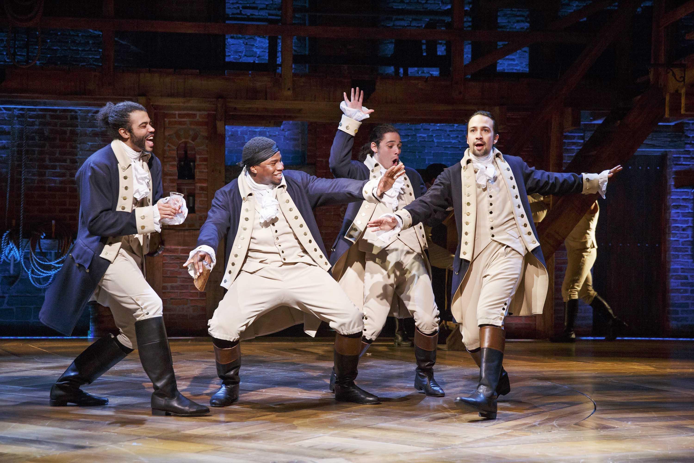 As Alexander Hamilton, Miranda (far right) updates Revolutionary fervor into the modern vernacular.