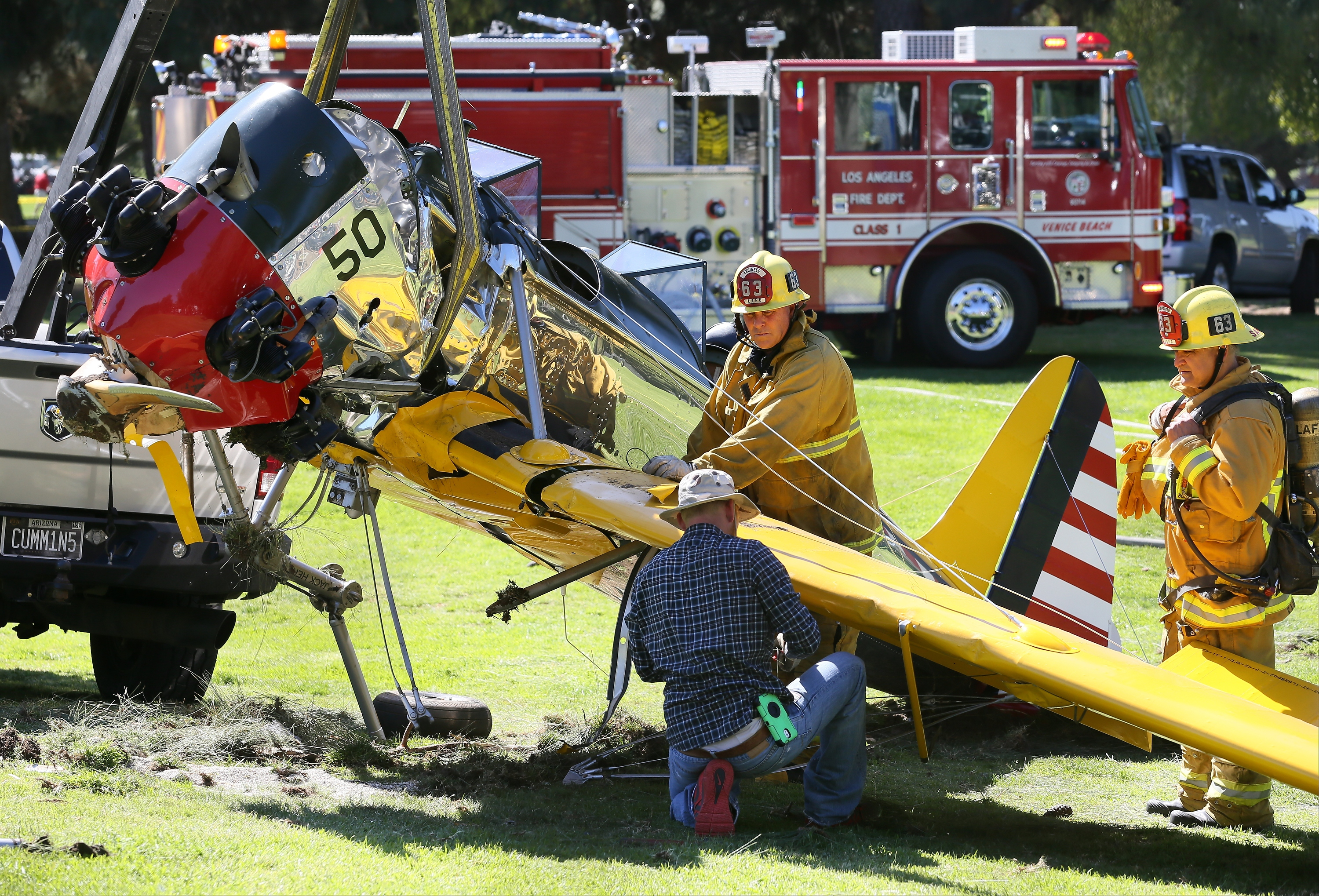 A general view at the Penmar Golf Course after a single-engine plane piloted by actor Harrison Ford crashed in Venice, California on March 5, 2015.