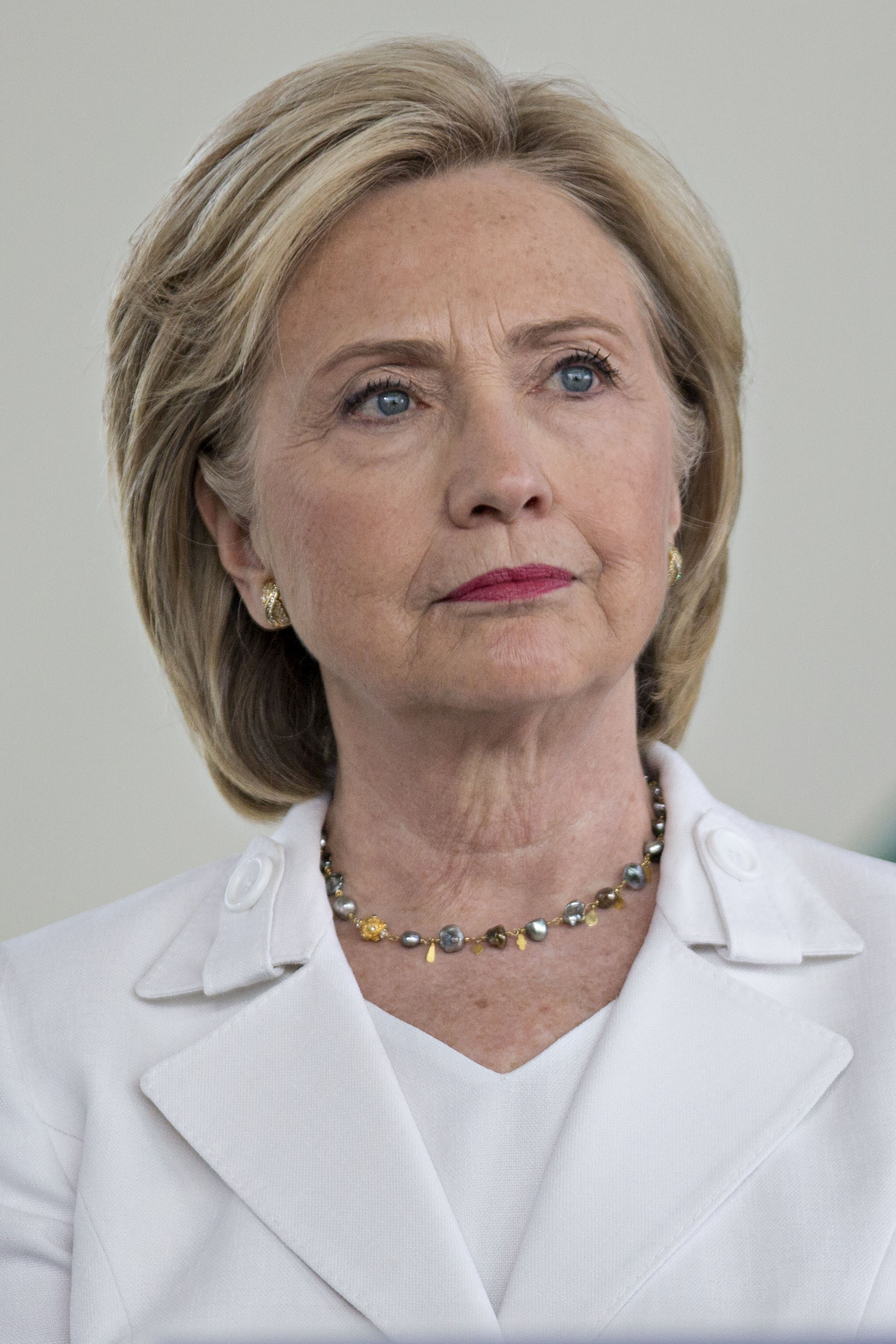 Hillary Clinton, former U.S. secretary of state and 2016 Democratic presidential candidate, listens during her introduction at an event in Ankeny, Iowa, on Aug. 26, 2015.