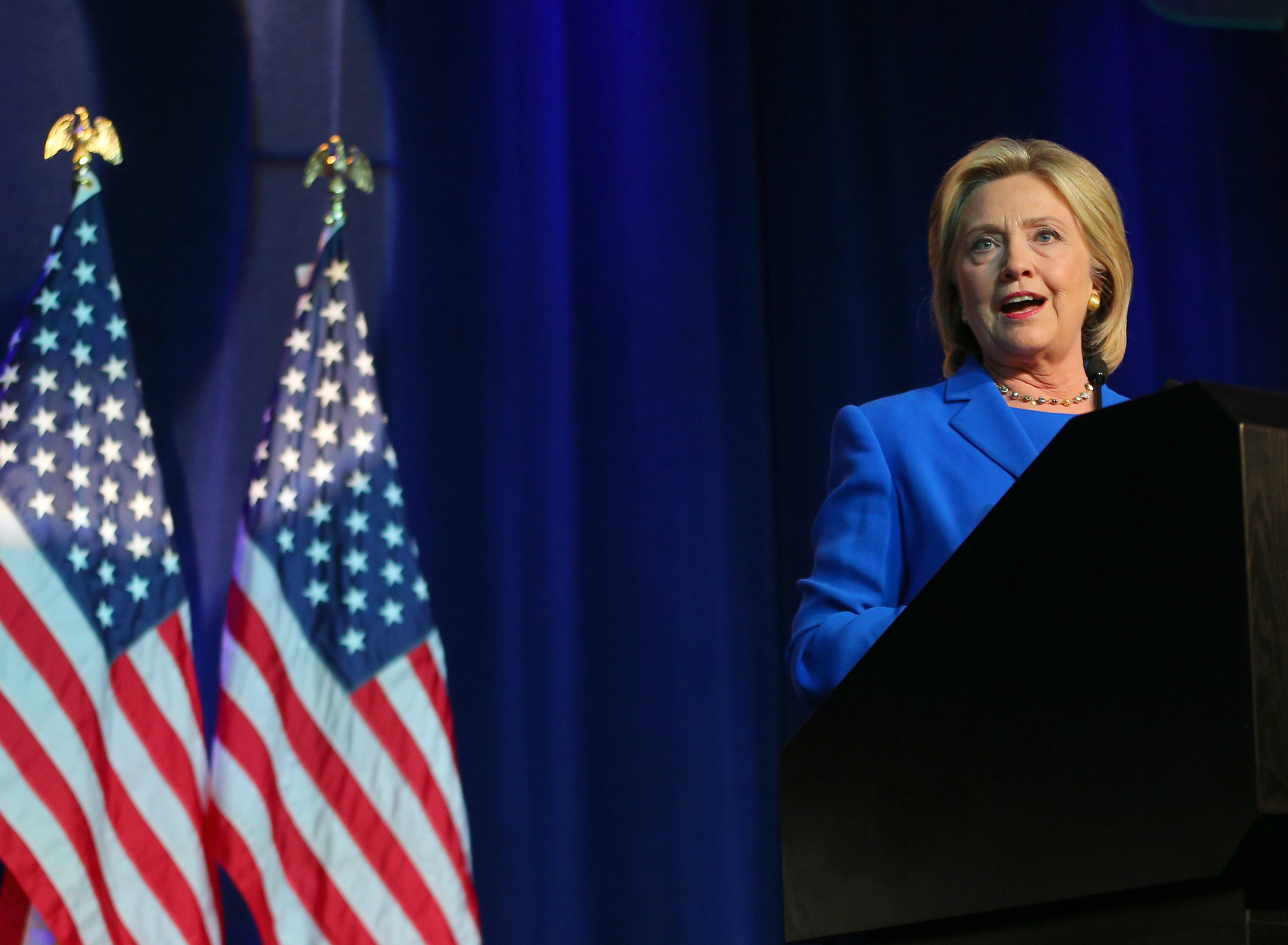 Hillary Clinton speaks at the Democratic National Committee summer meeting in Minneapolis on Aug. 28, 2015.