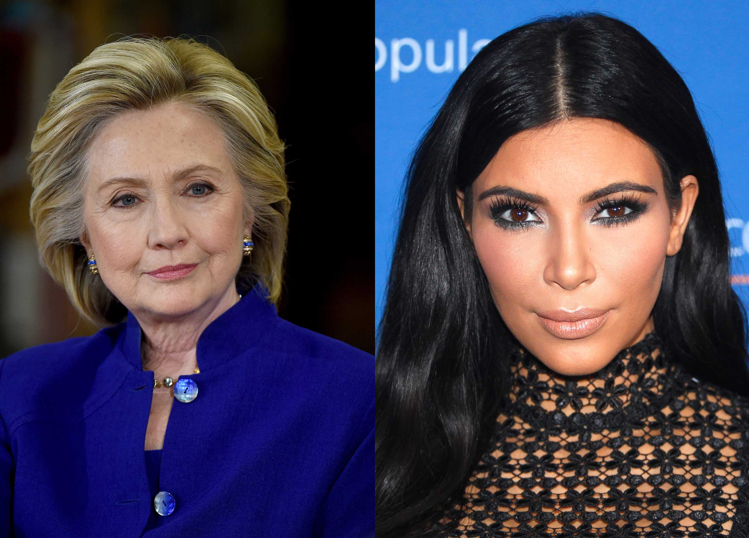 Hillary Clinton and Kim Kardashian.