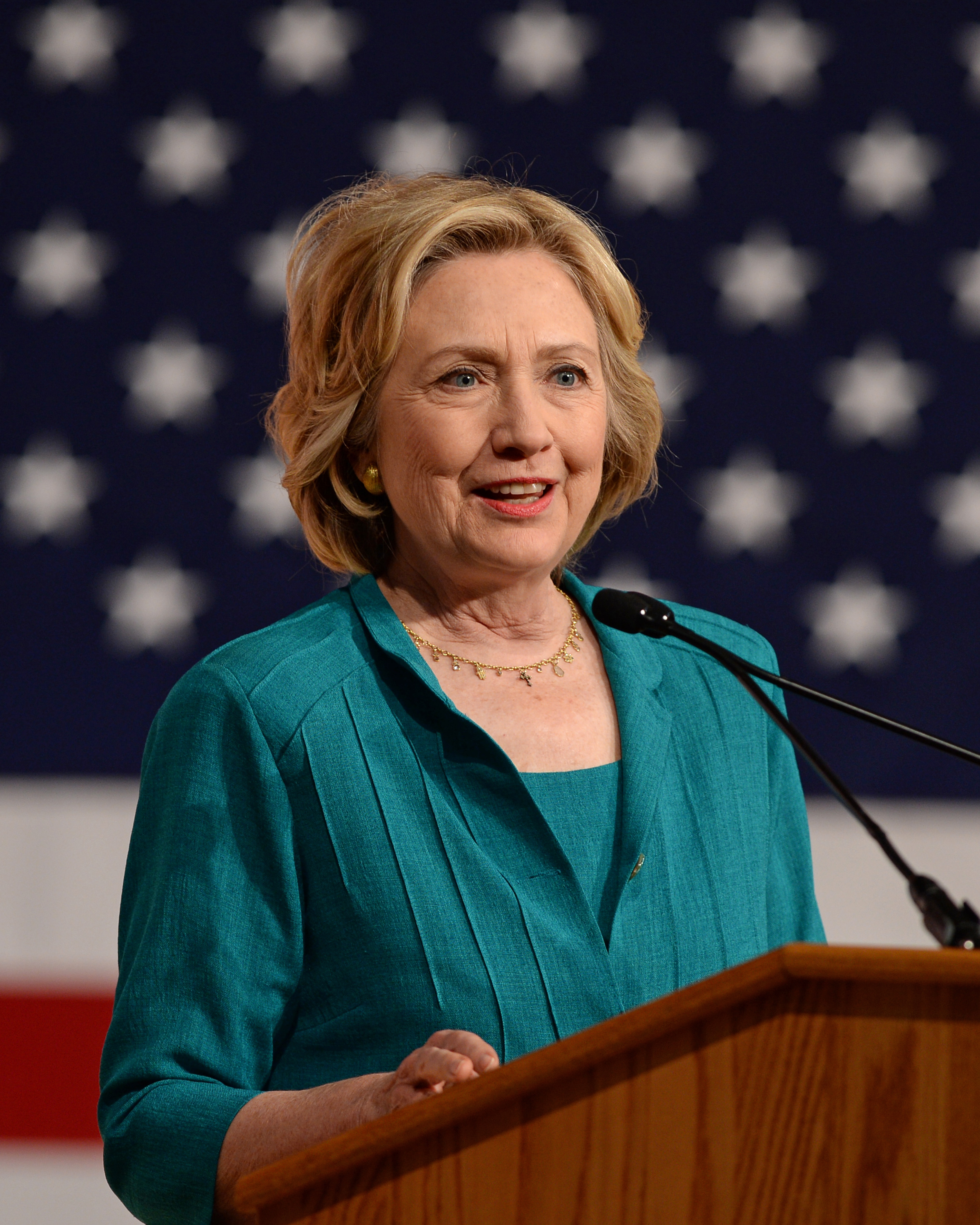 Former First Lady and Secretary Of State Hillary Rodham Clinton speaks during a campaign stop at Florida International University on July 31, 2015 in Miami, Florida.