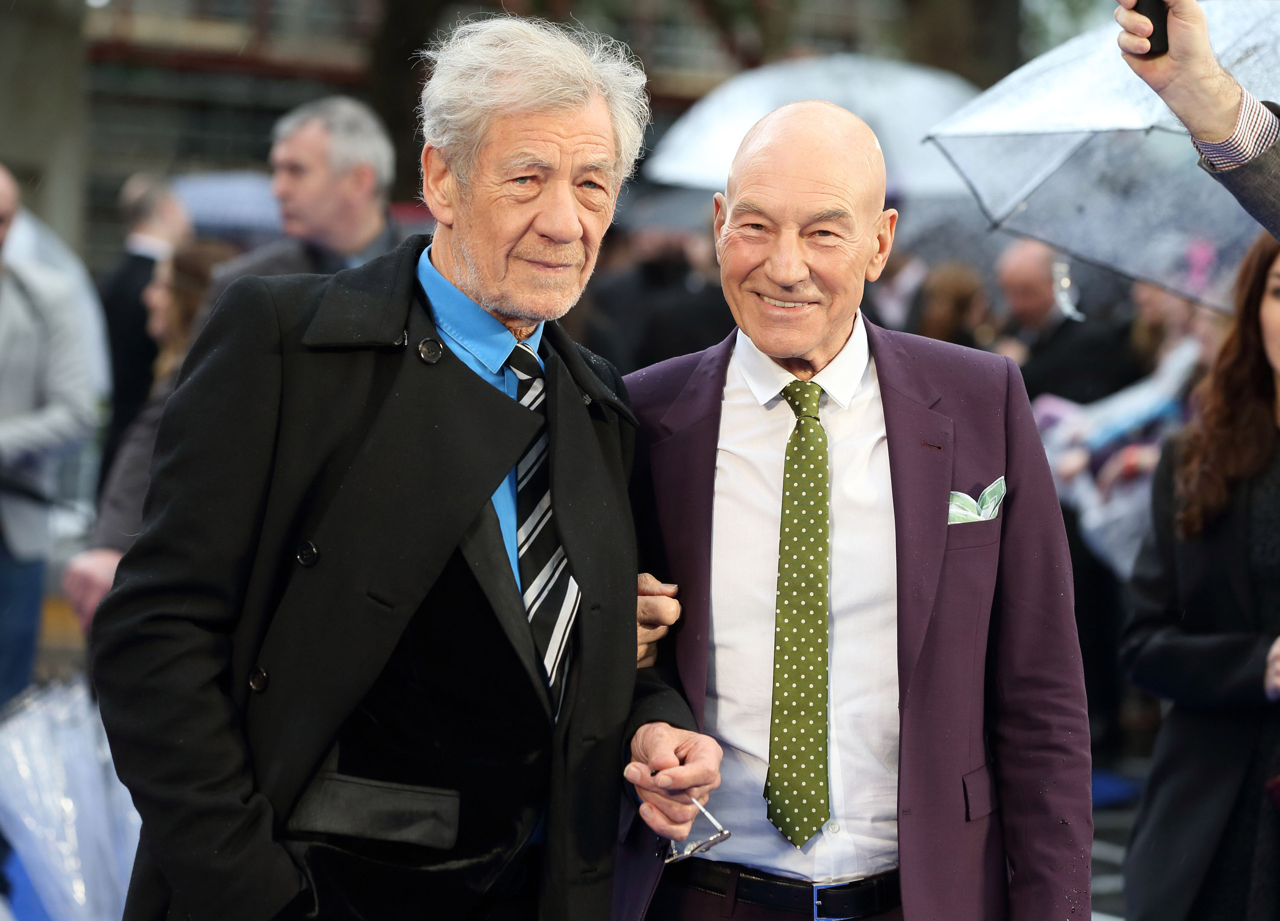 Sir Ian McKellen and Patrick Stewart attend the UK Premiere of  X-Men: Days of Future Past  at Odeon Leicester Square in London on May 12, 2014.