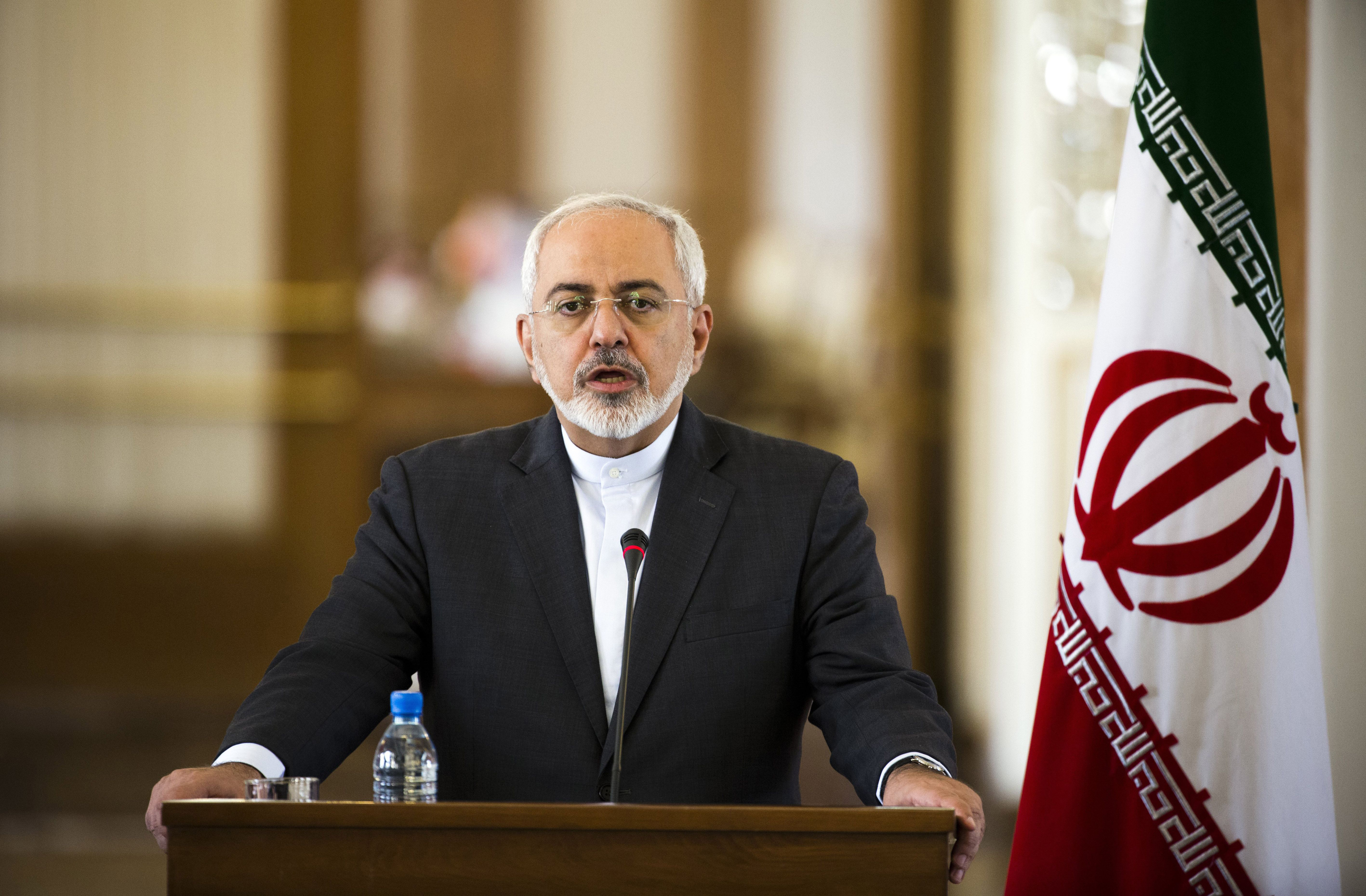 Iranian Foreign Minister Mohammad Javad Zarif speaks during a joint press conference with his French counterpart Laurent Fabius following their talks in Tehran on July 29, 2015.