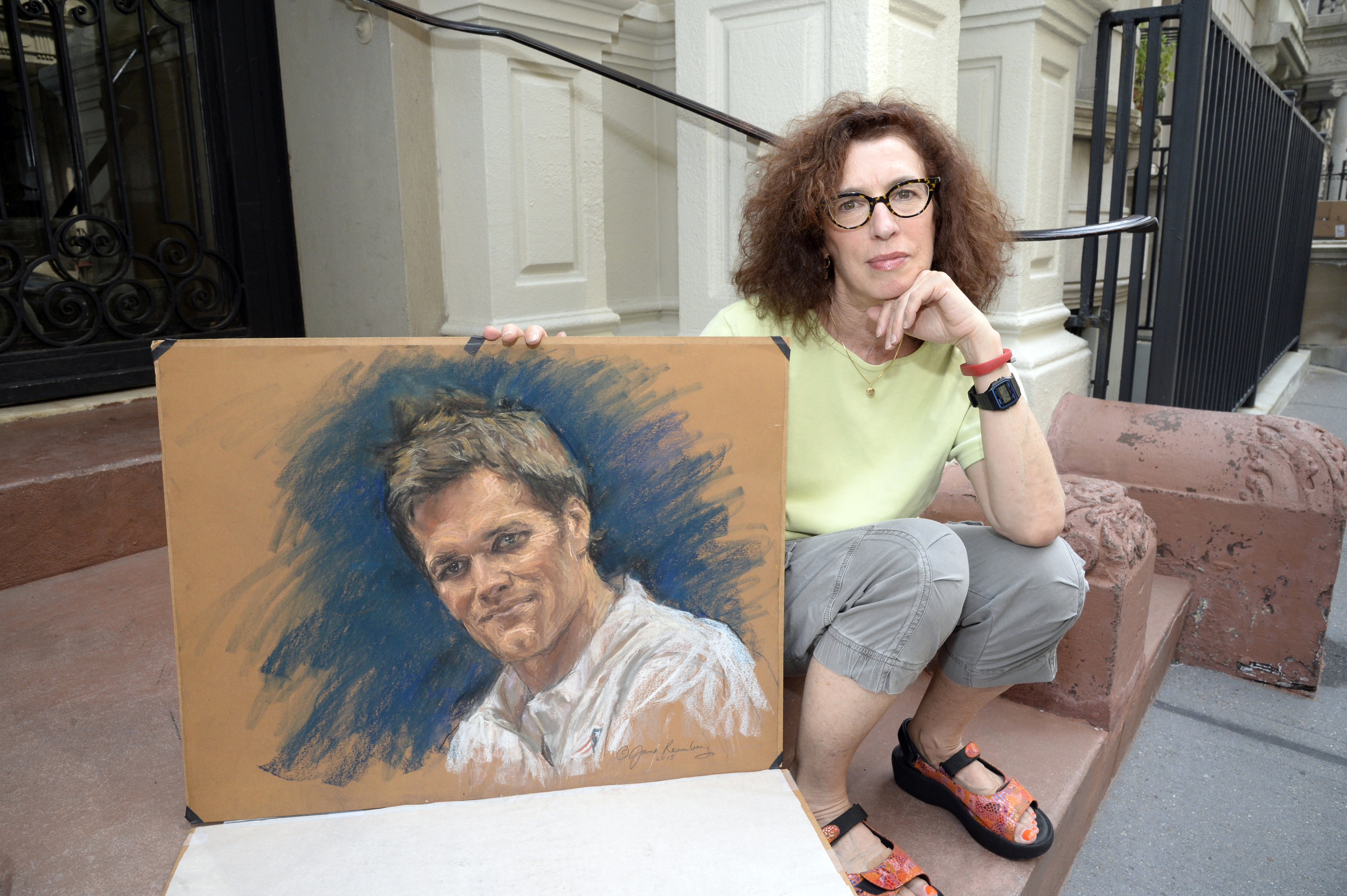 Courtroom artist Jane Rosenberg with a more pleasant sketch of New England Patriots quarterback Tom Brady.