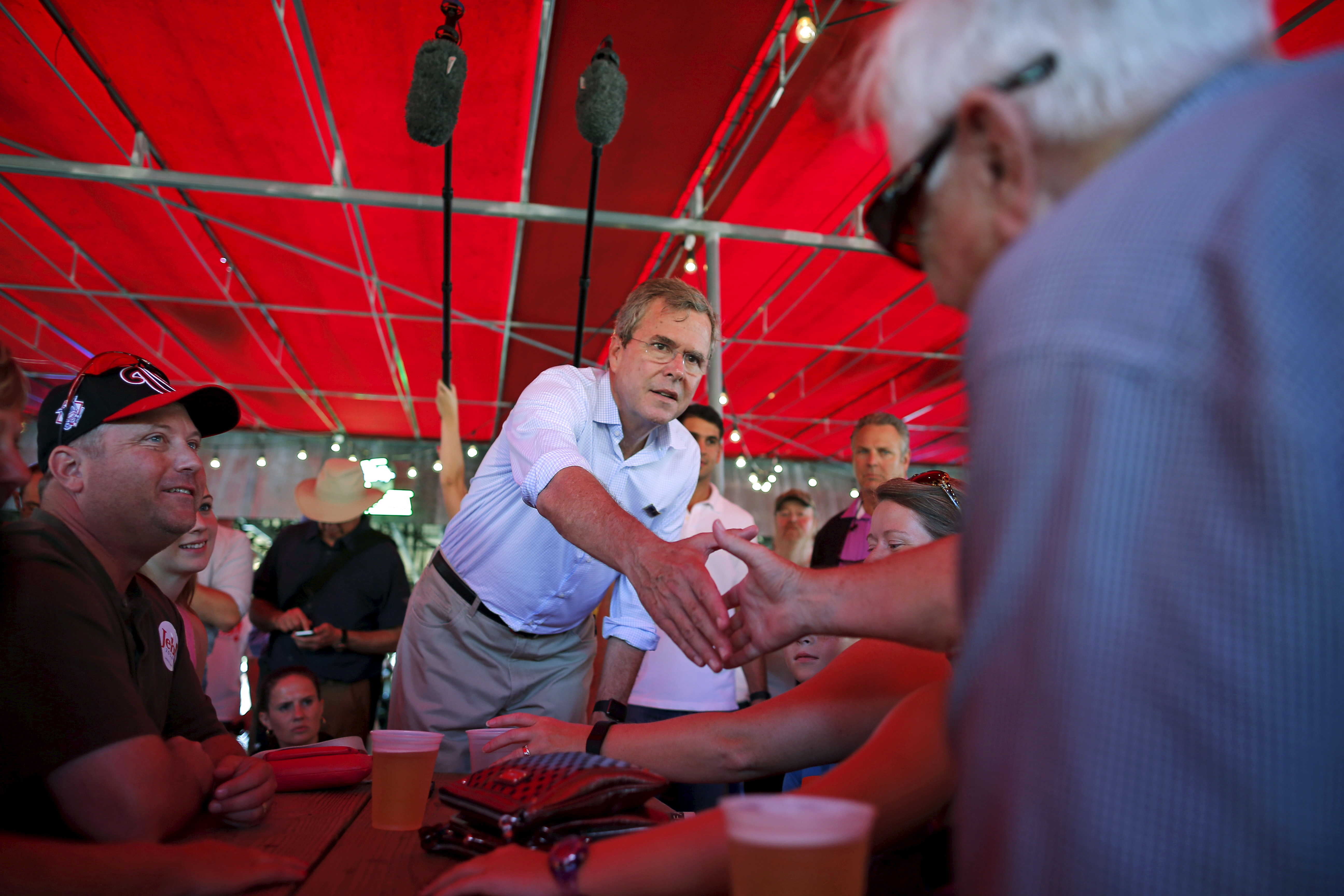 Jeb Bush greets attendees at the Iowa State Fair in Des Moines, Iowa on Aug. 14, 2015.