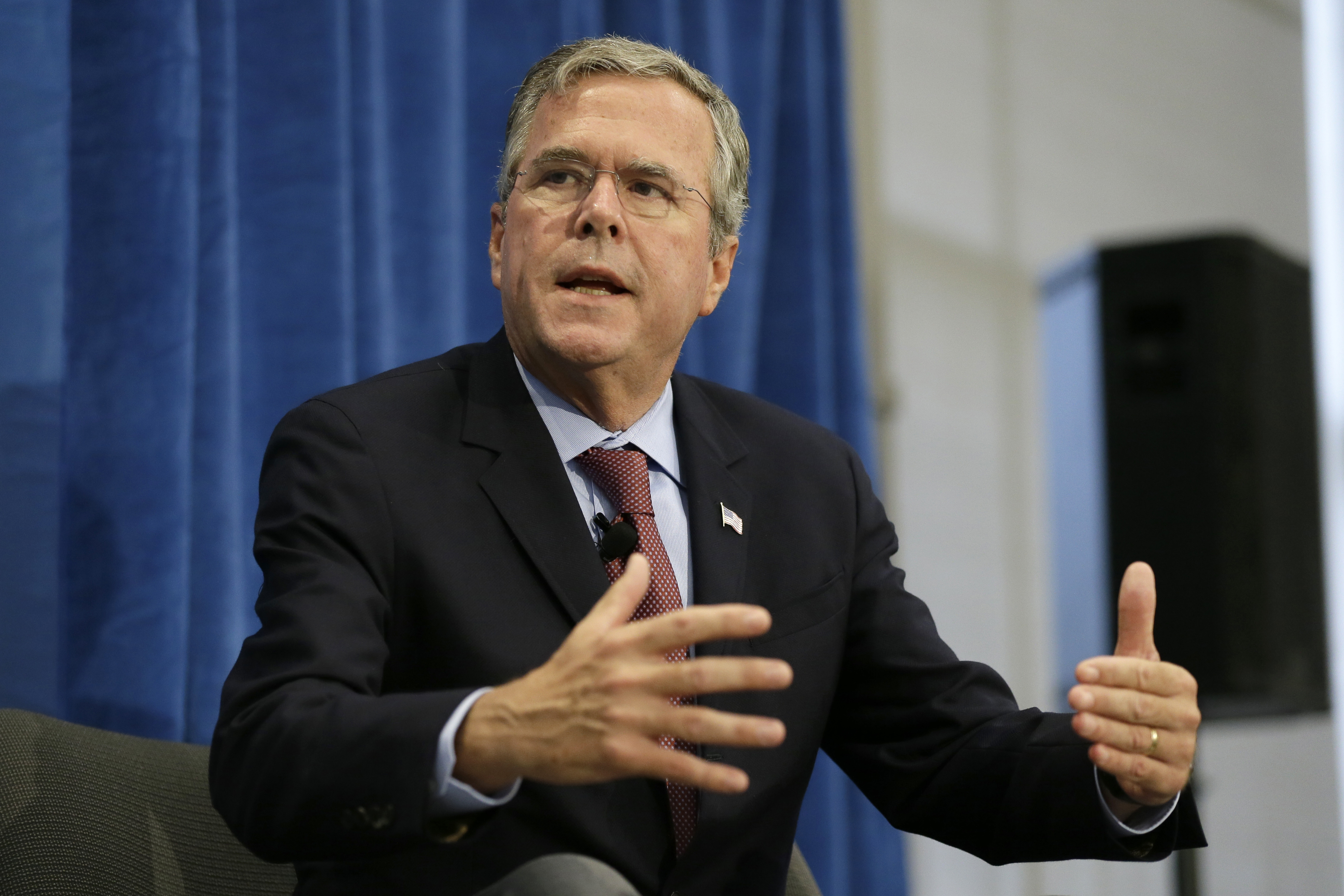 Republican presidential candidate former Fla. Gov. Jeb Bush speaks during a forum sponsored by Americans for Peace, Prosperity and Security at St. Ambrose University in Davenport, Iowa on Aug. 13, 2015.