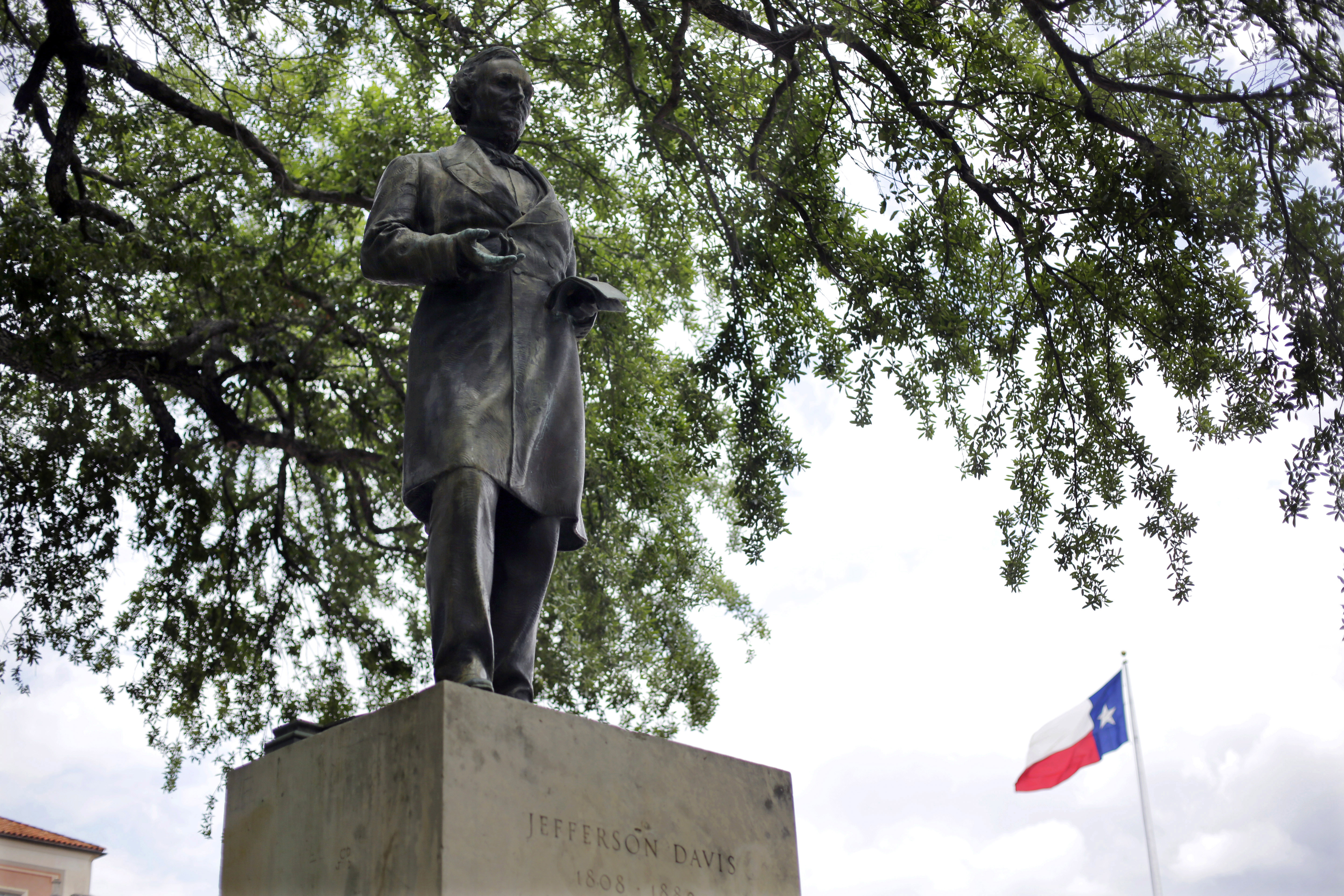 A statue of Jefferson Davis is seen on the University of Texas campus in Austin on May 5, 2015.