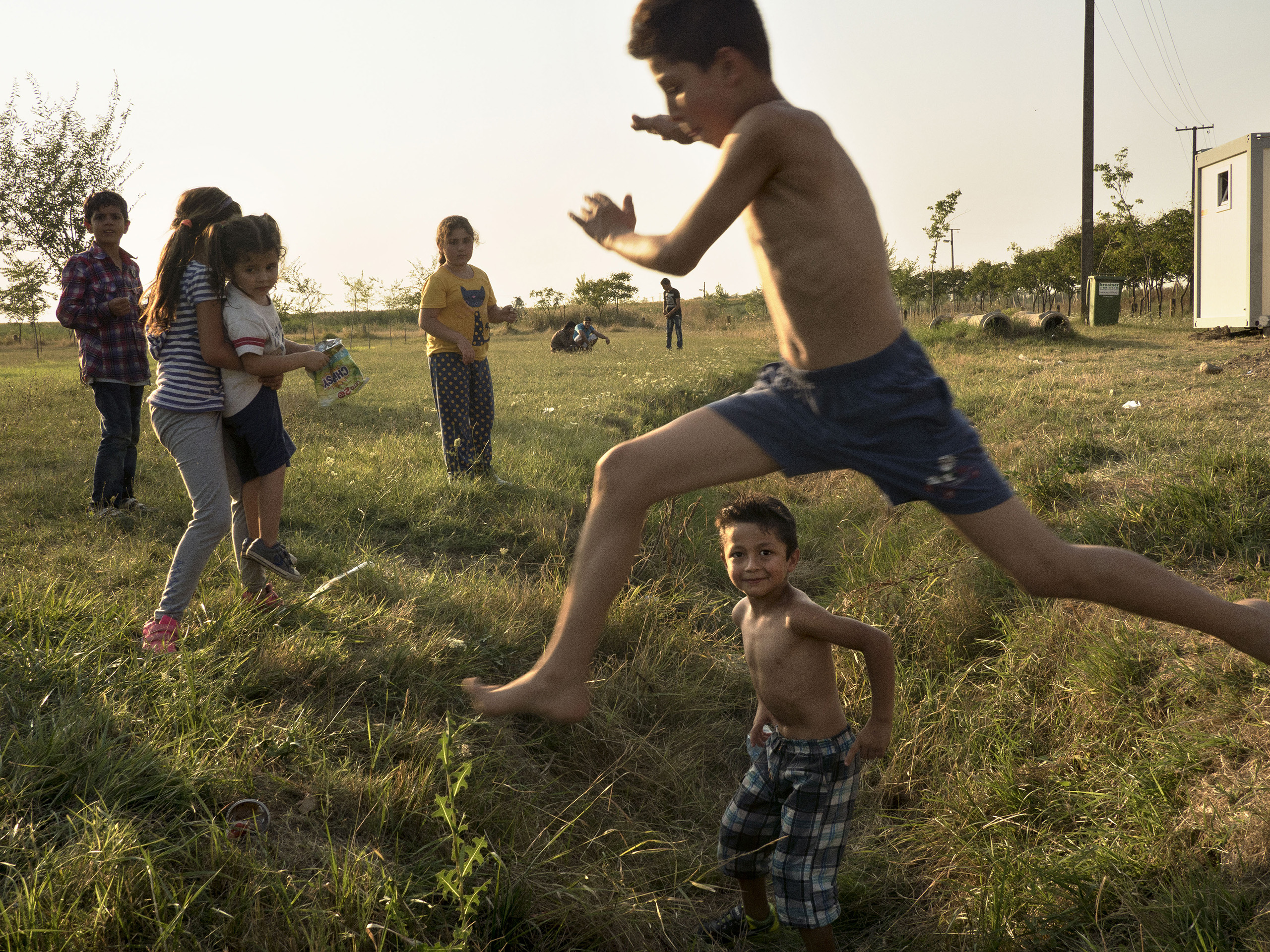 Vasariste, Serbia. August 12, 2015. Syrian families, mostly from Aleppo, in a refugee camp in Vasariste, near the Serbian-Hungarian border.