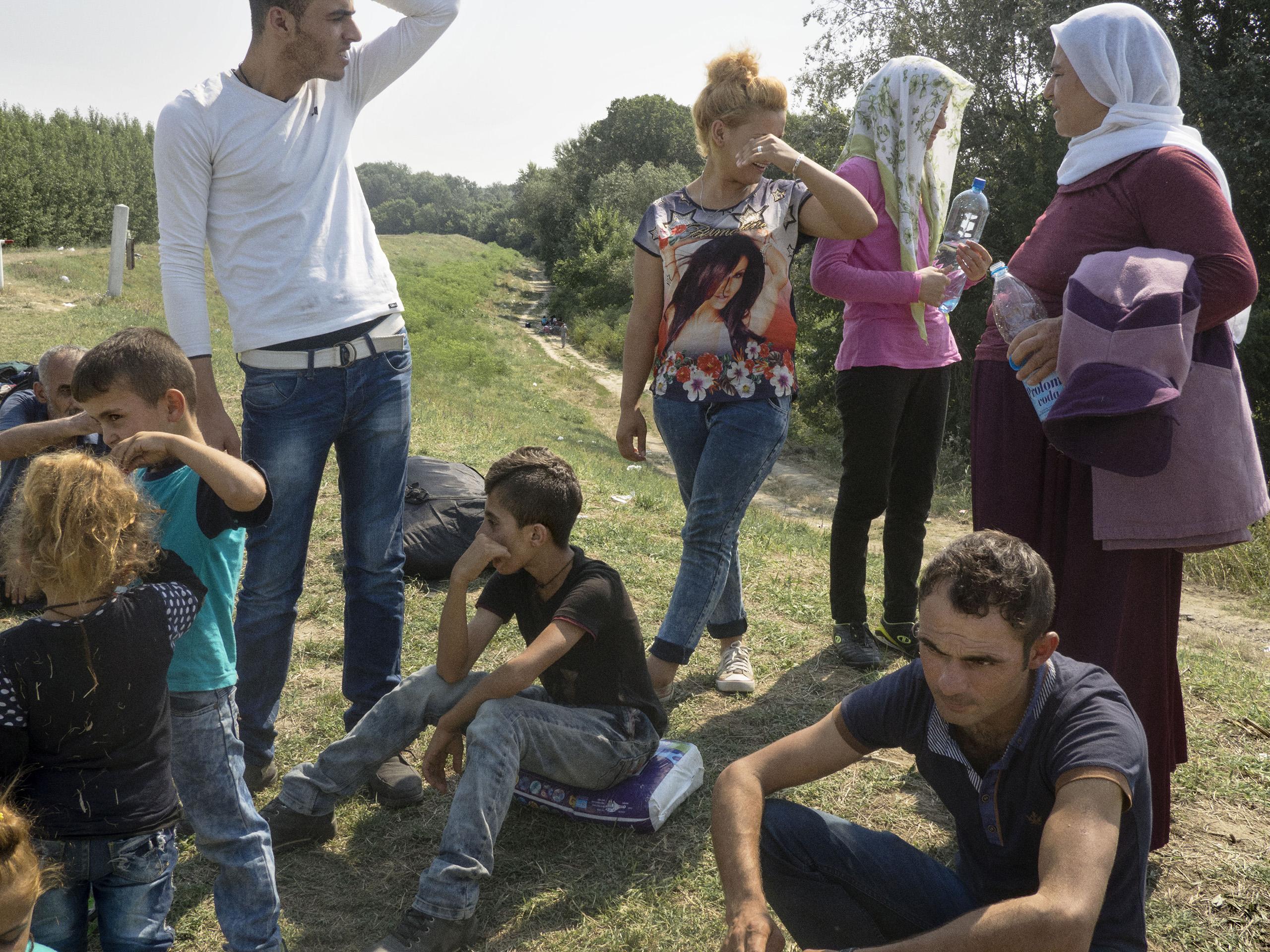 Vasariste, Serbia. August 12, 2015. A Yazidi family from Iraq near the Serbian-Hungarian border.