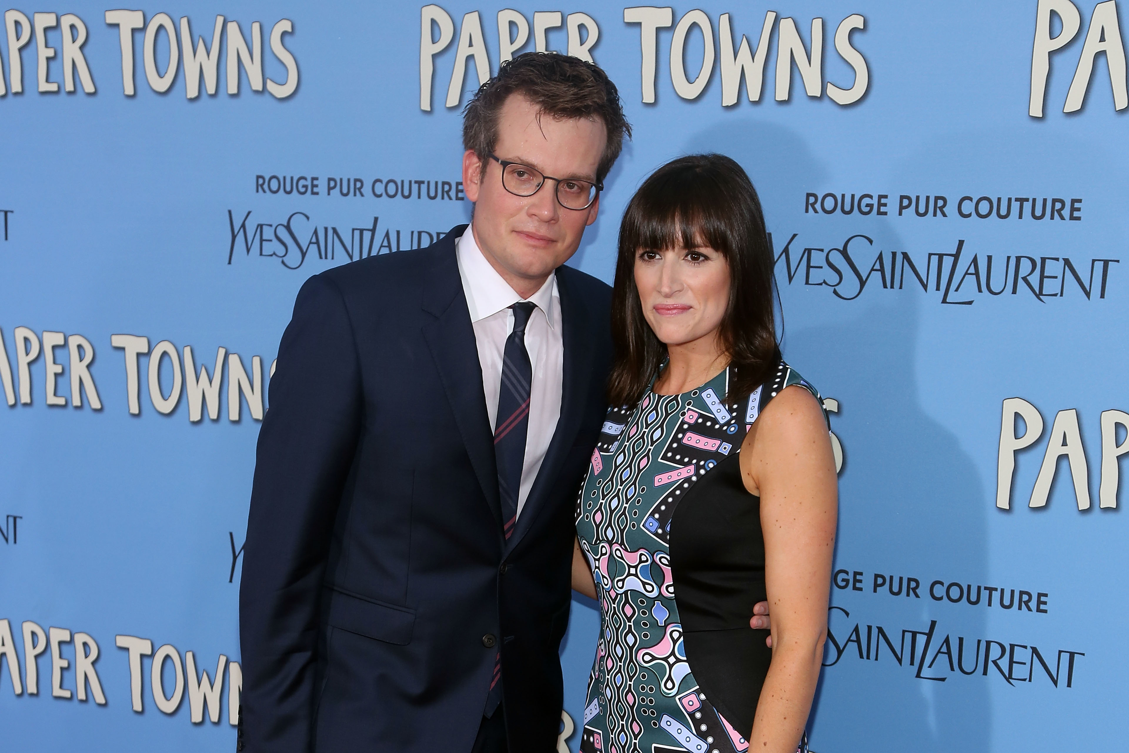 John Green and Sarah Urist attend the New York City premiere of 'Paper Towns' at AMC Loews Lincoln Square on July 21, 2015 in New York City.