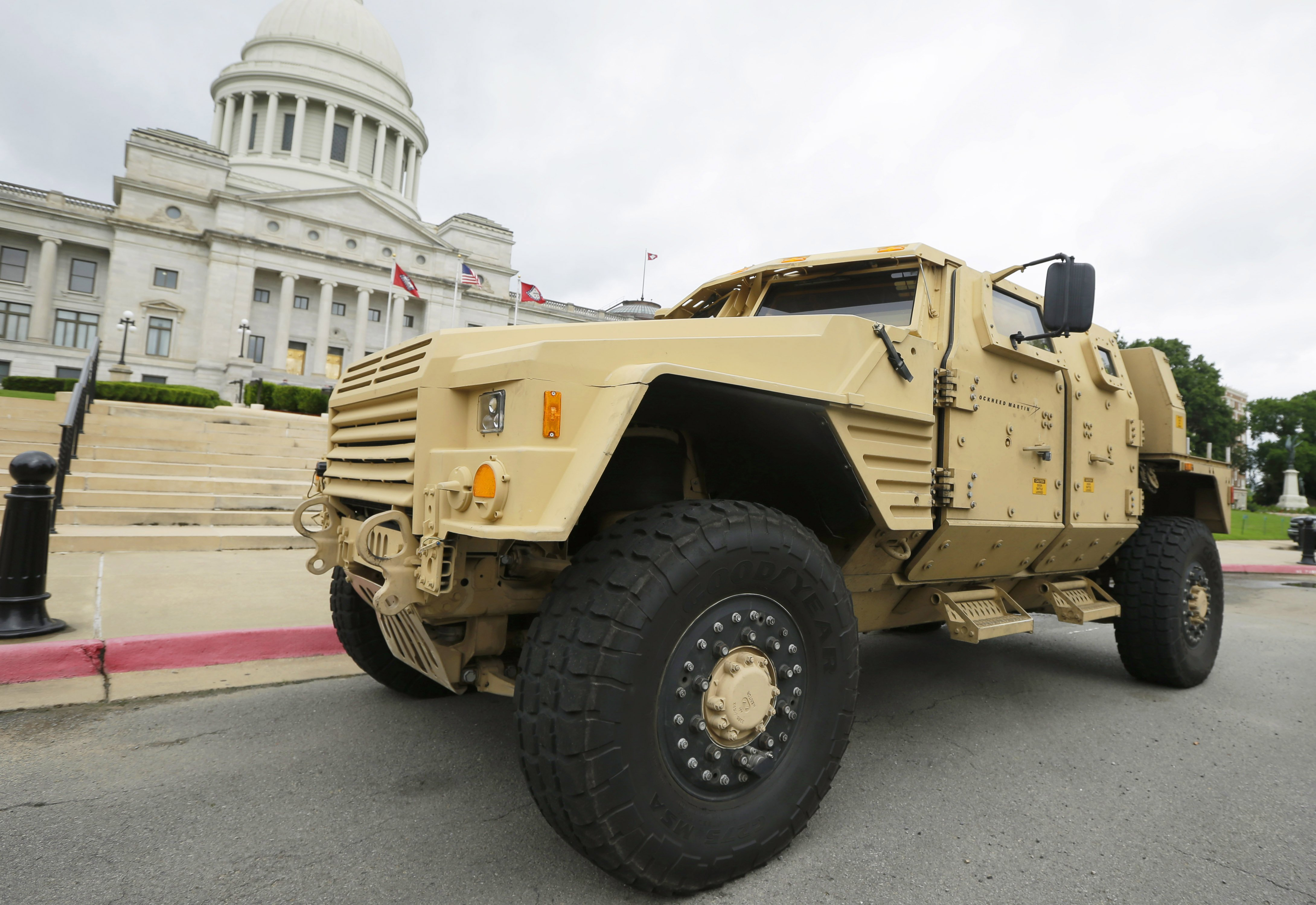 Prototype of a Lockheed Martin Joint Light Tactical Vehicle parked in front of the Arkansas state Capitol in Little Rock, Ark. on May 26, 2015.