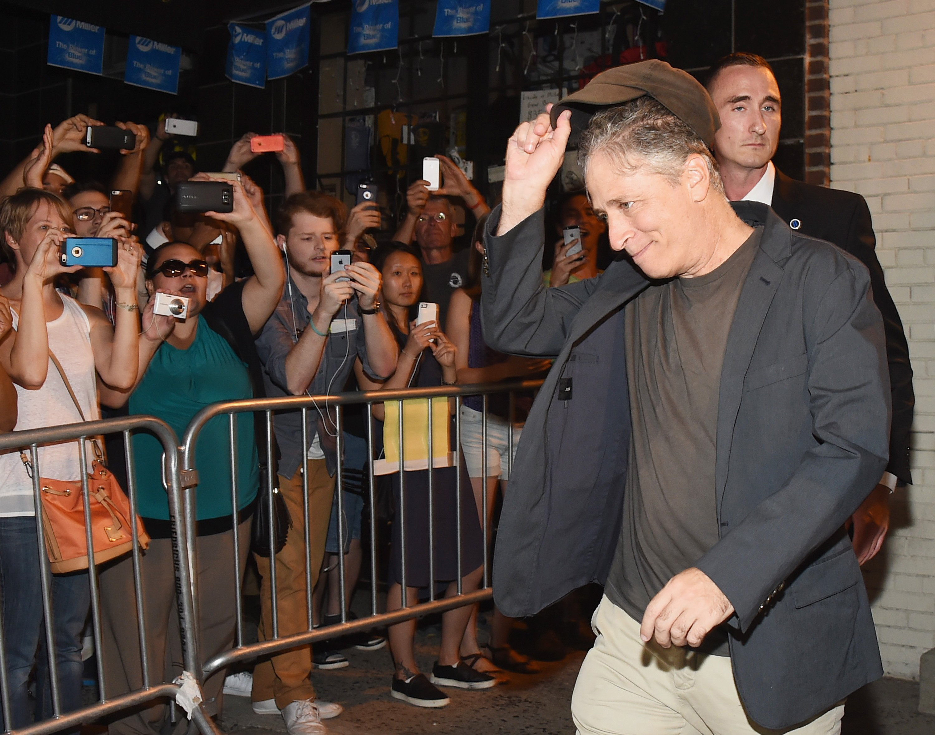 Jon Stewart exits the studio following the final taping of  The Daily Show With Jon Stewart  on August 6, 2015 in New York City.