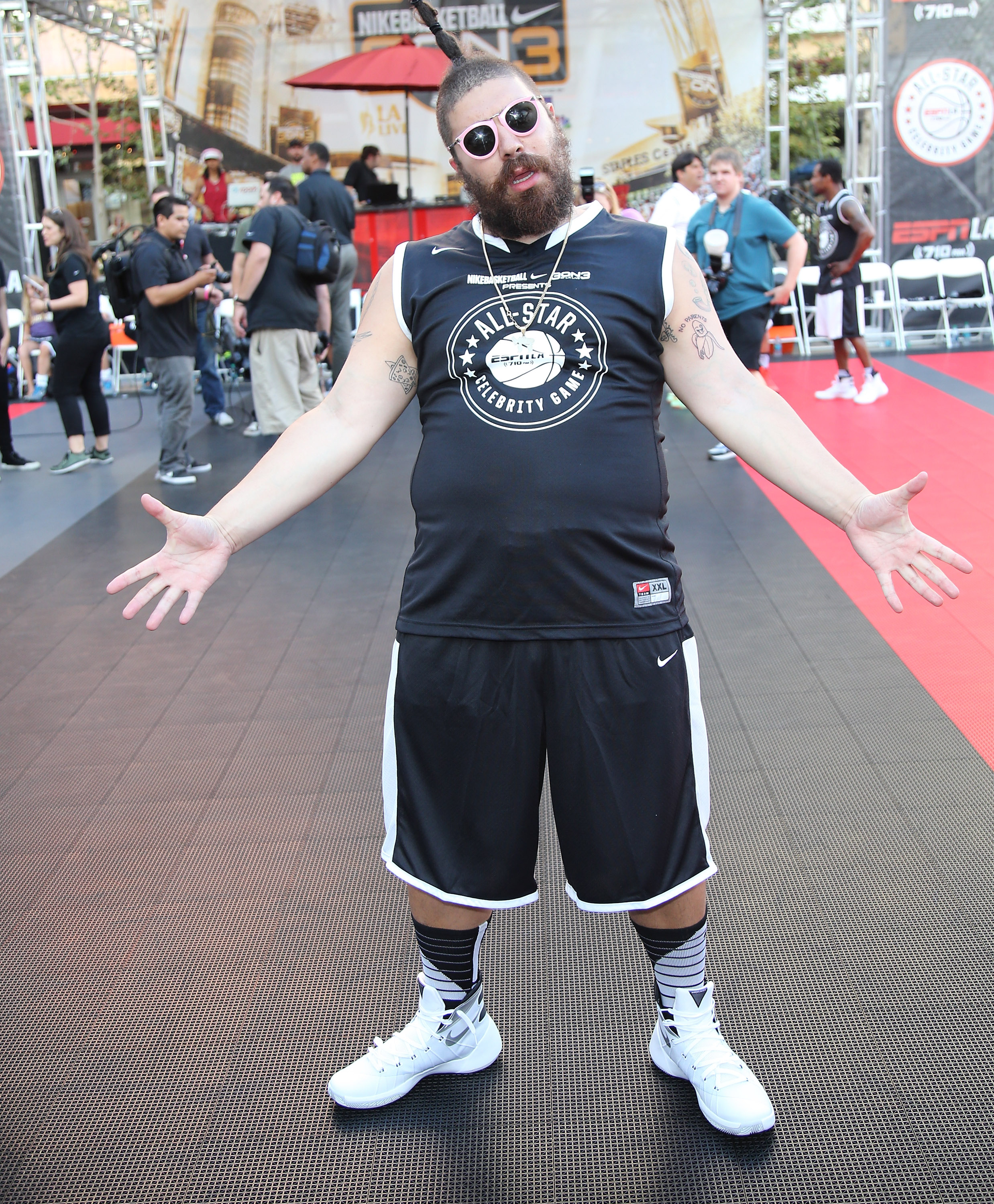 Josh  The Fat Jew  Ostrovsky at the 2015 Nike Basketball 3ON3 Tournament on Aug. 7, 2015 in Los Angeles.