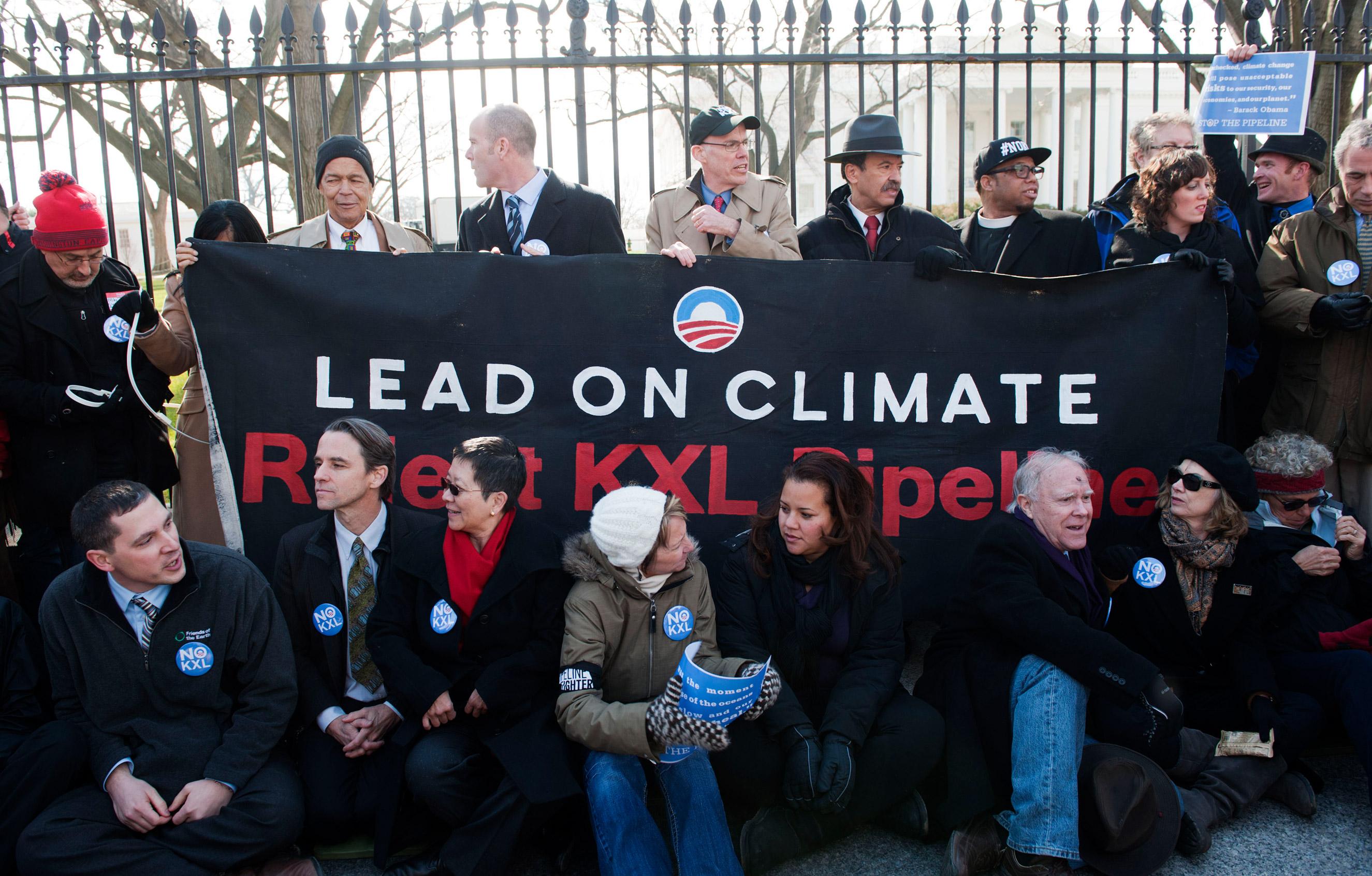 Julian Bond, Michael Brune, Bill McKibbin and Lennox Yearwood protest against Keystone XL Pipeline at Lafayette Park on Feb. 13, 2013 in Washington.