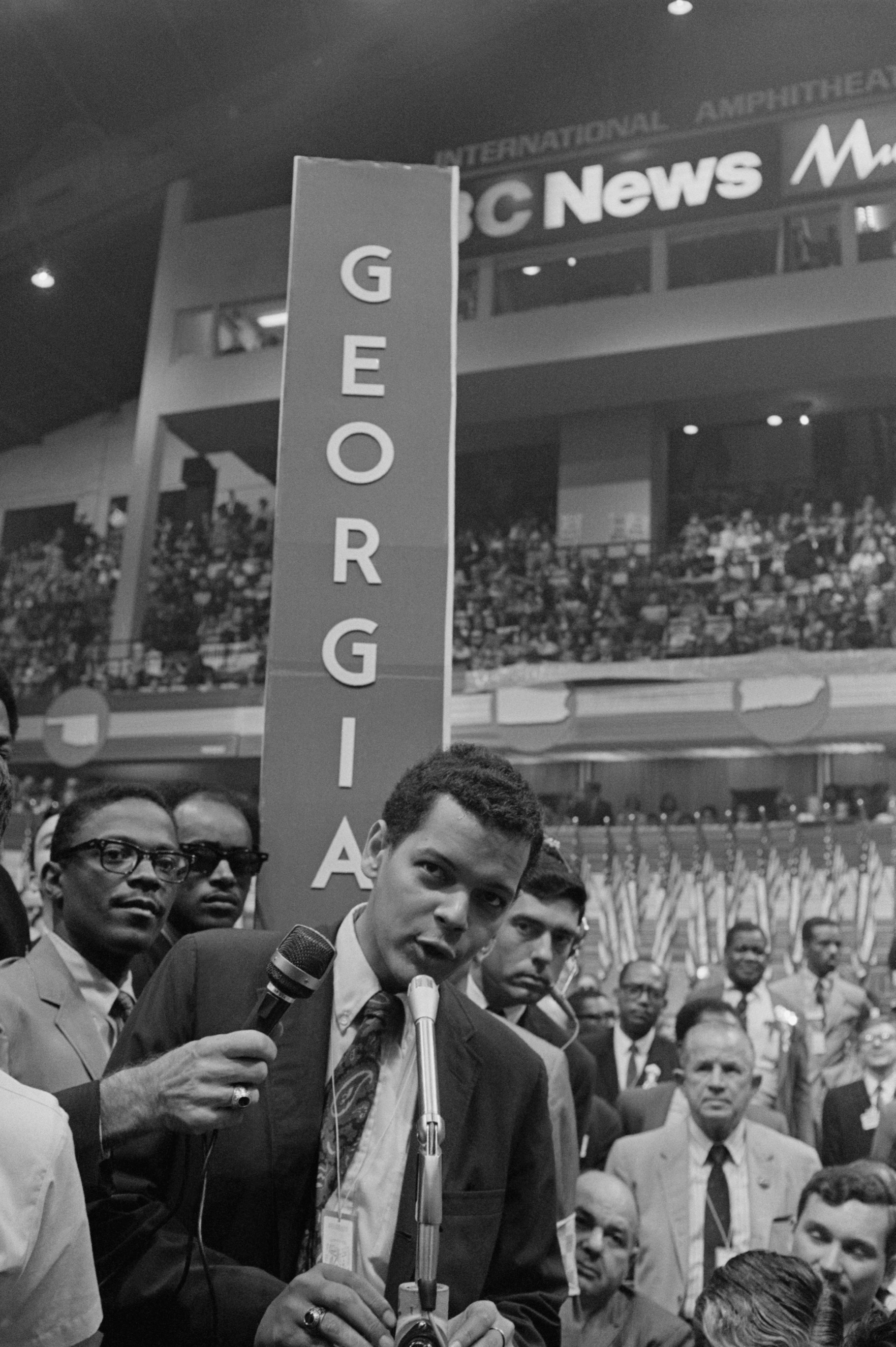 Georgia delegate Julian Bond at the microphone on the floor of the Convention Hall in Chicago on Aug. 29, 1968 after his name was placed in nomination for the Vice Presidential nomination. Bond declined the nomination because of his age.