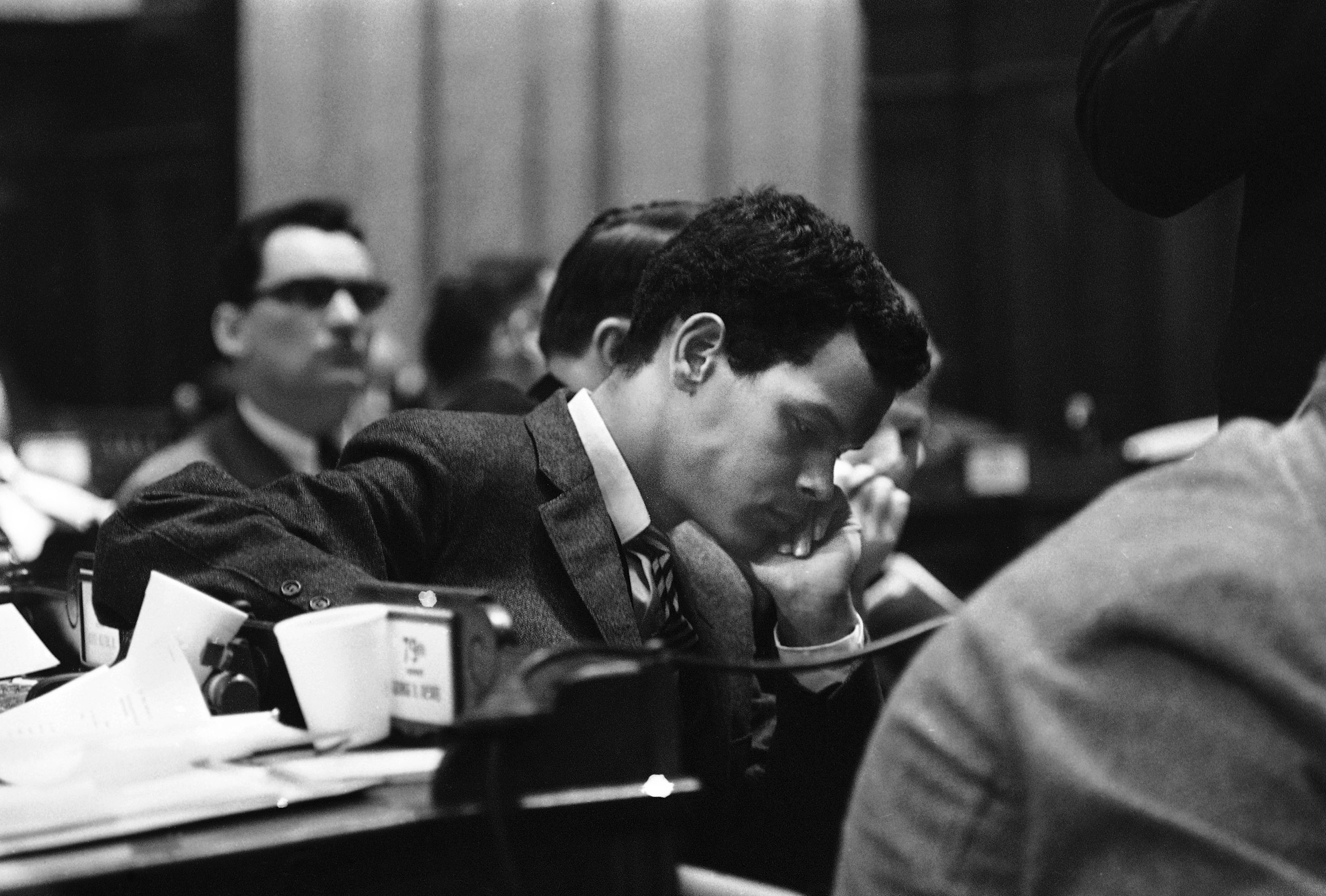 Representative elect Julian Bond listens to a verdict read to bar him from taking his seat in the Georgia House of Representatives in Atlanta on Jan. 11, 1966. He was refused his seat because of his endorsement of statements denouncing U.S. Policy in Vietnam.