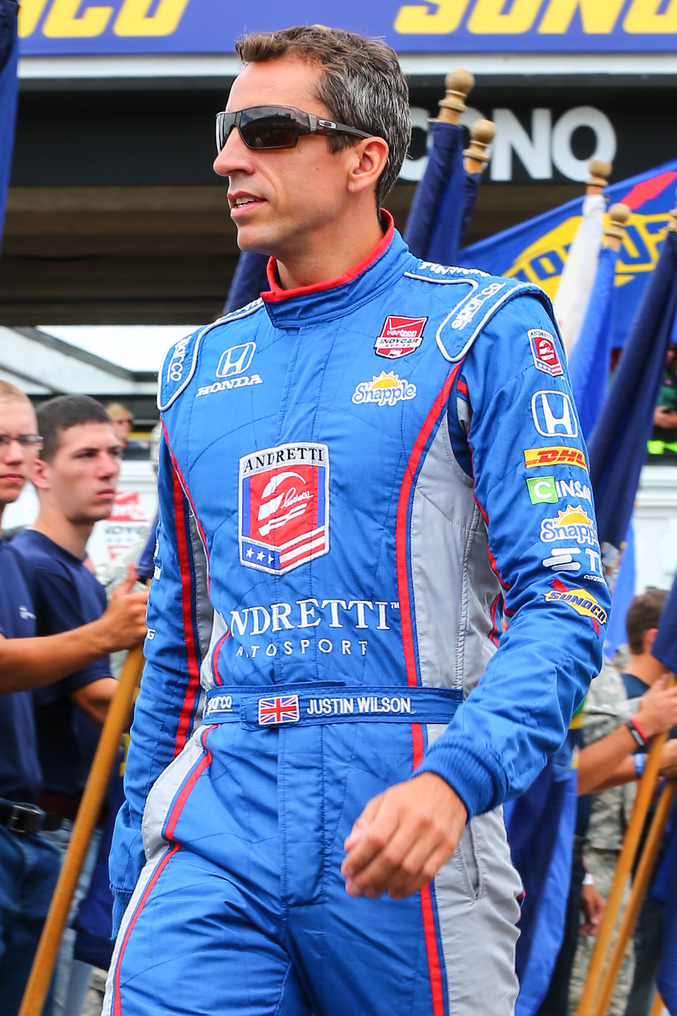 Justin Wilson driver of the #25 Andretti Autosports Honda during driver introductions prior the Verizon IndyCar Series ABC Supply 500 at Pocono Raceway in Long Pond, PA on Aug. 23, 2015.