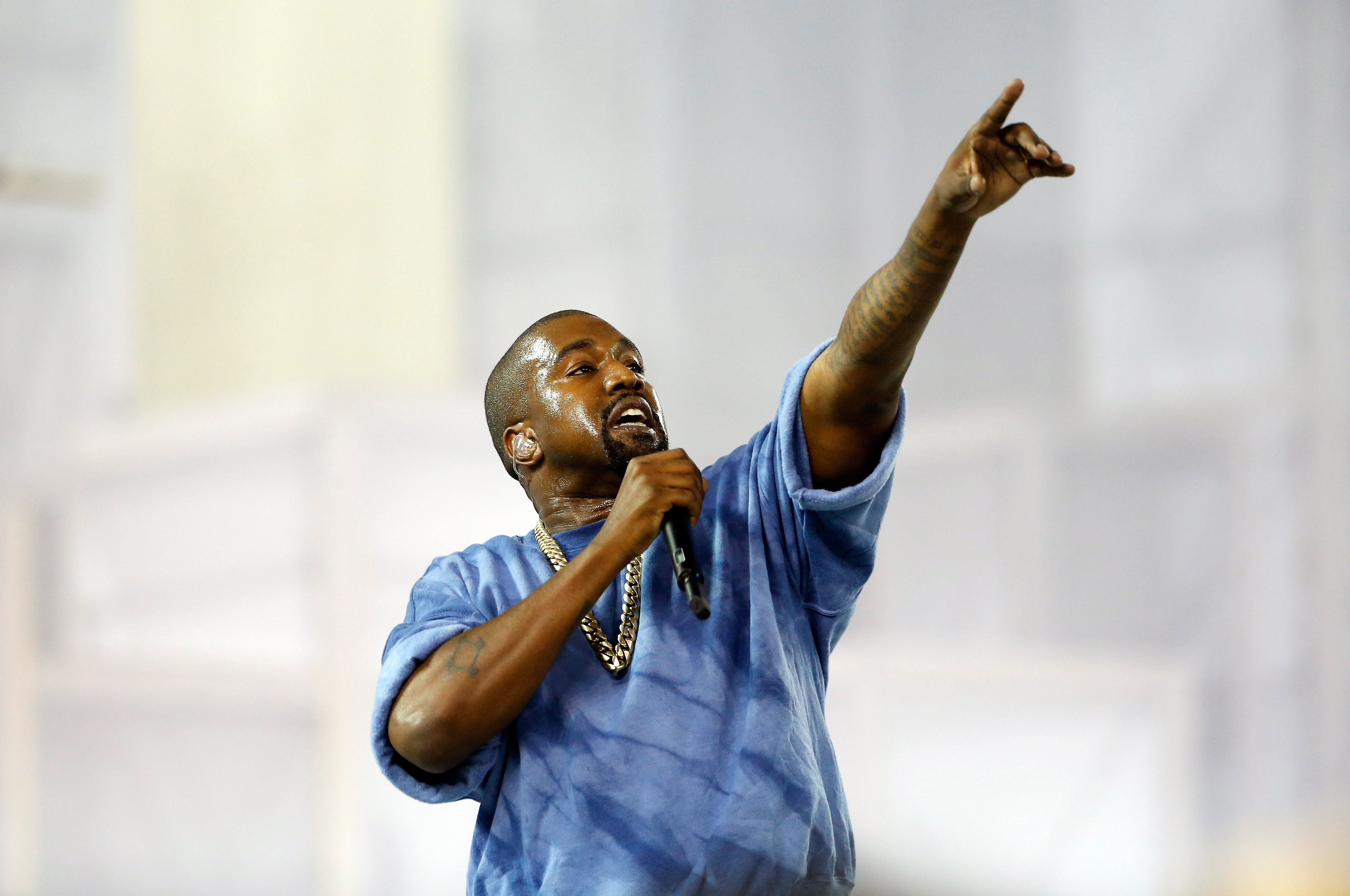Kanye West preforms during the closing ceremony on Day 16 of the Toronto 2015 Pan Am Games on July 26, 2015 in Toronto.