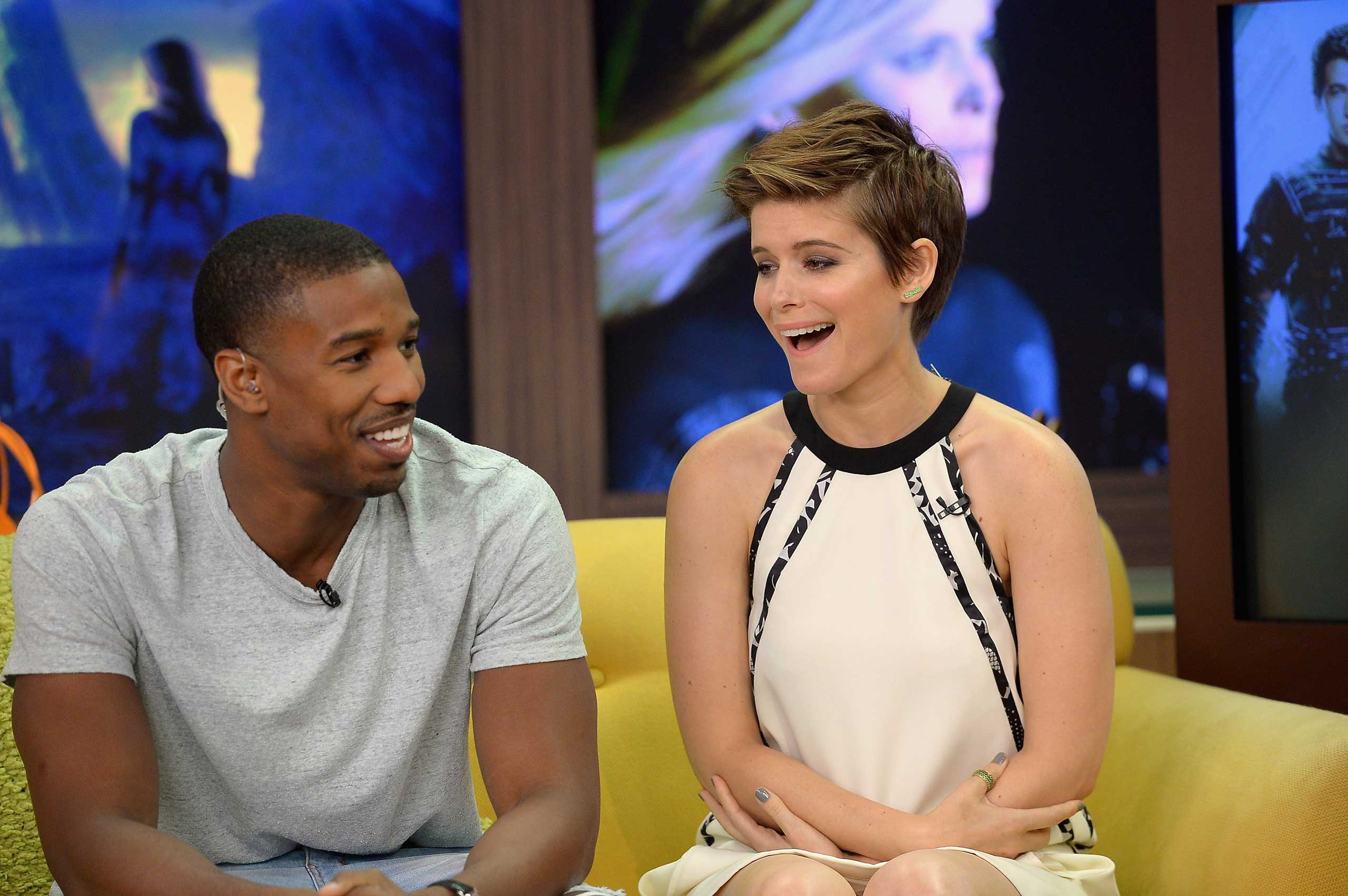 Michael B. Jordan and Kate Mara are seen during The Set Of Despierta America to promote the film  Fantastic Four at Univision Studios on July 31, 2015 in Miami.