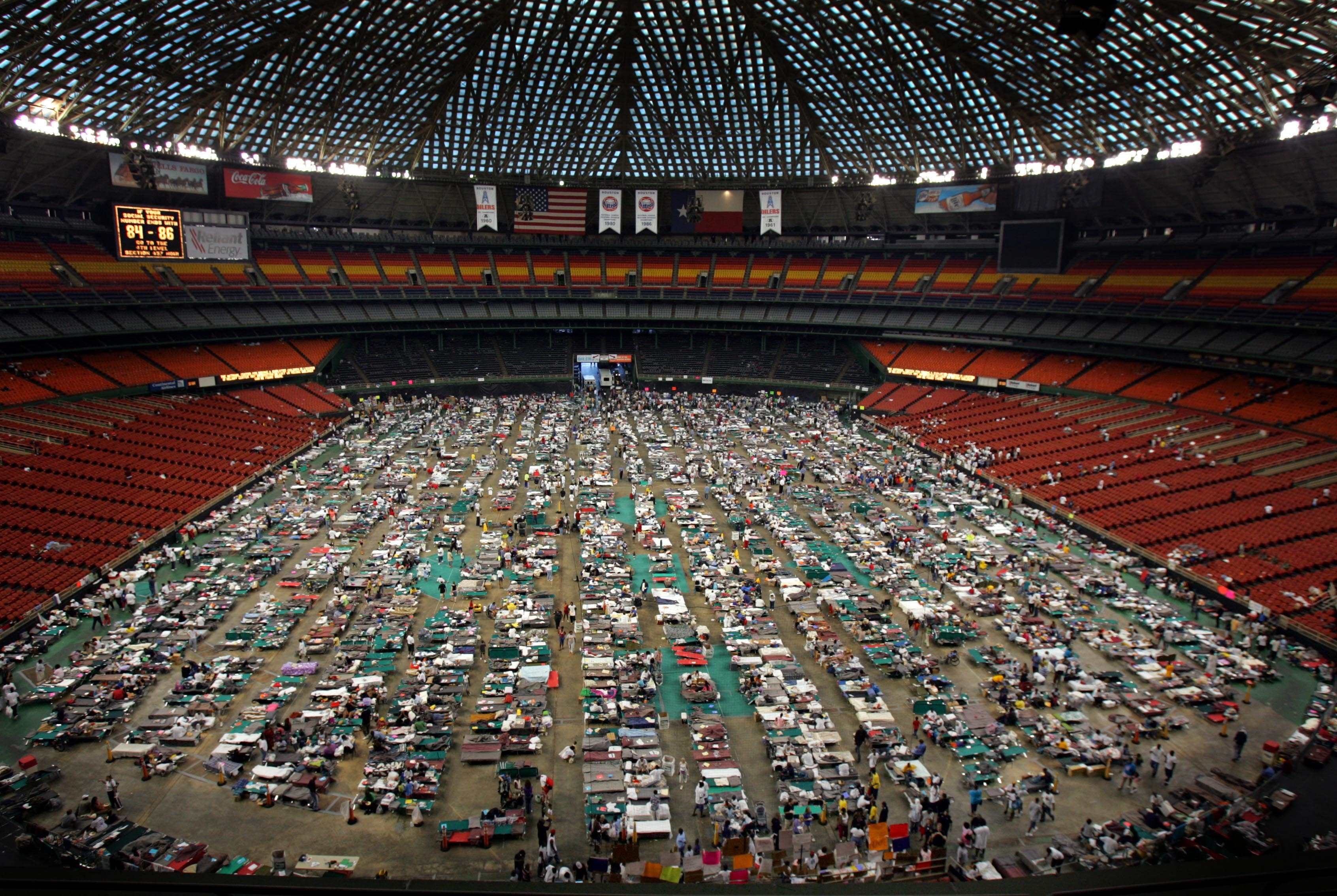 Victims of Hurricane Katrina stay at the Astrodome stadium where 16,000 evacuees were receiving food and shelter in Houston on Sept. 4, 2005.