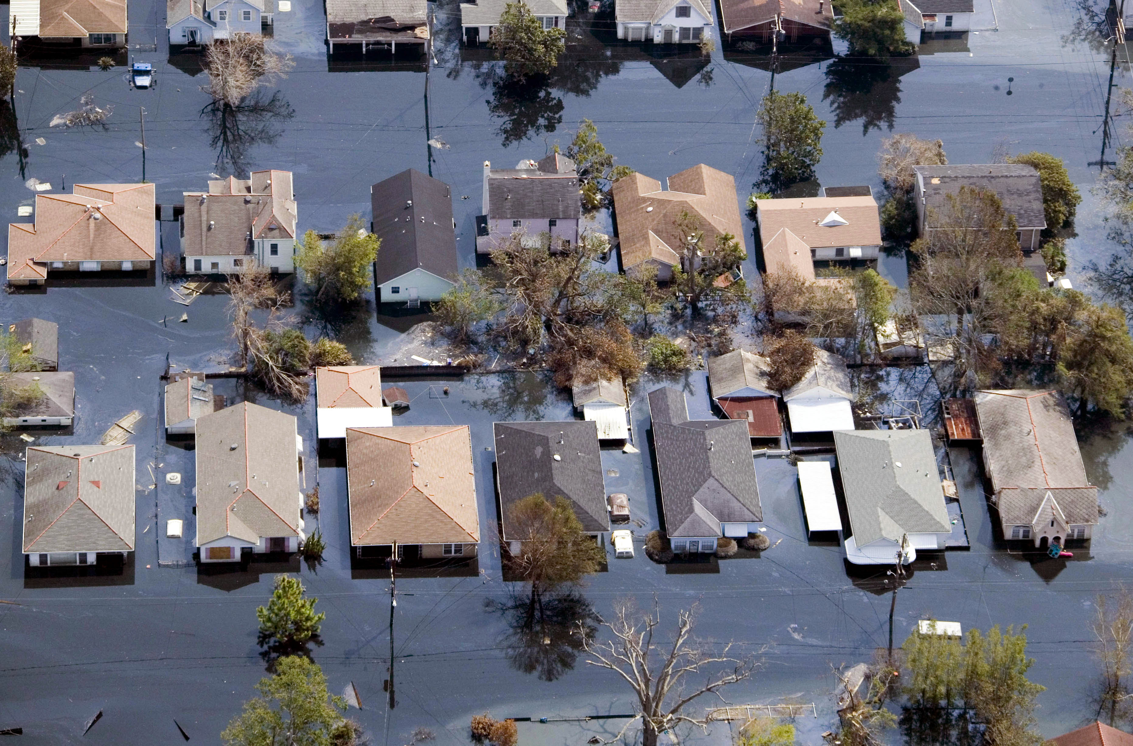 Houses lie flooded from Hurricane Katrina in the Gentilly neighborhood of New Orleans, Louisiana on Sept. 11, 2005.