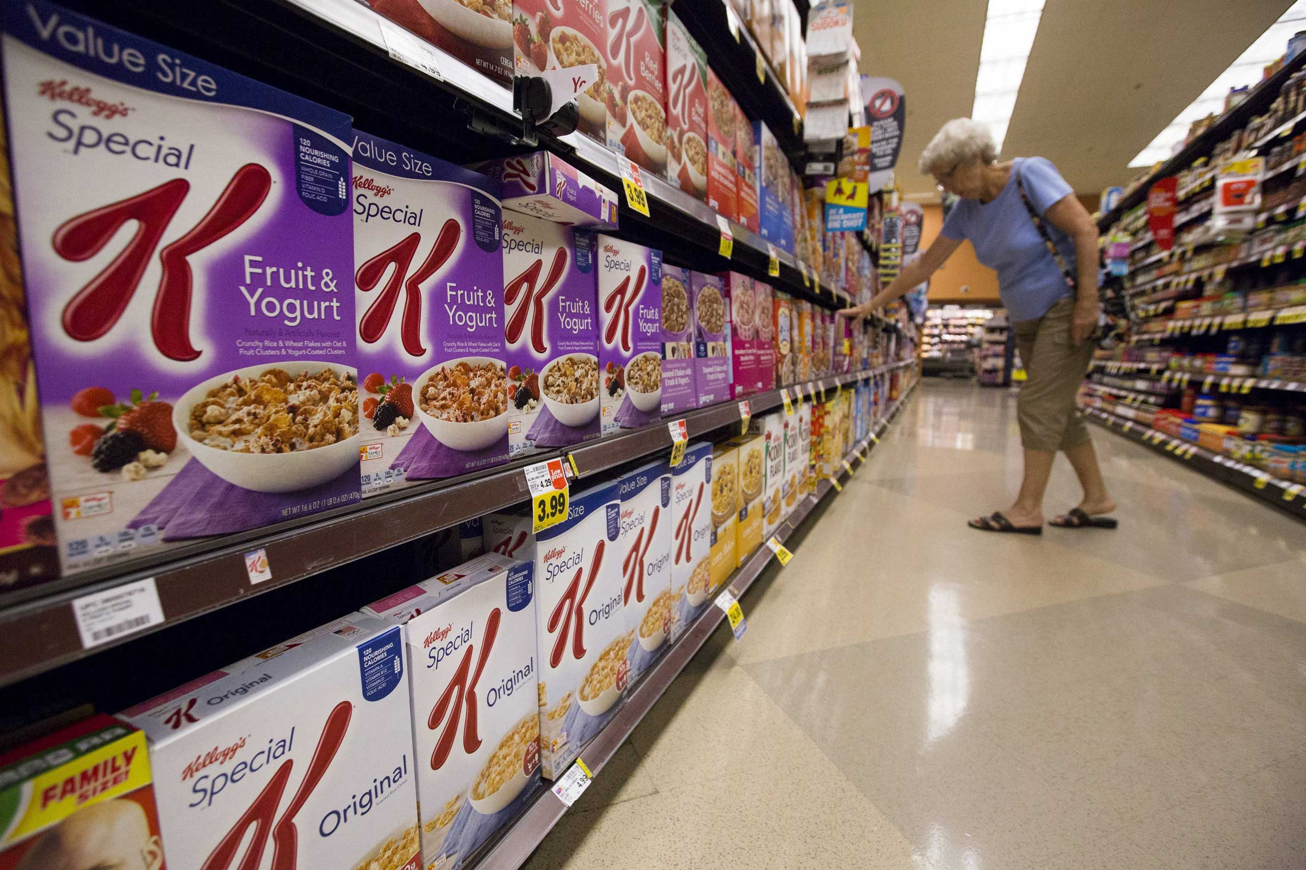 Kellogg's cereals are pictured at a grocery store in Pasadena, Calif. on Aug. 3, 2015.