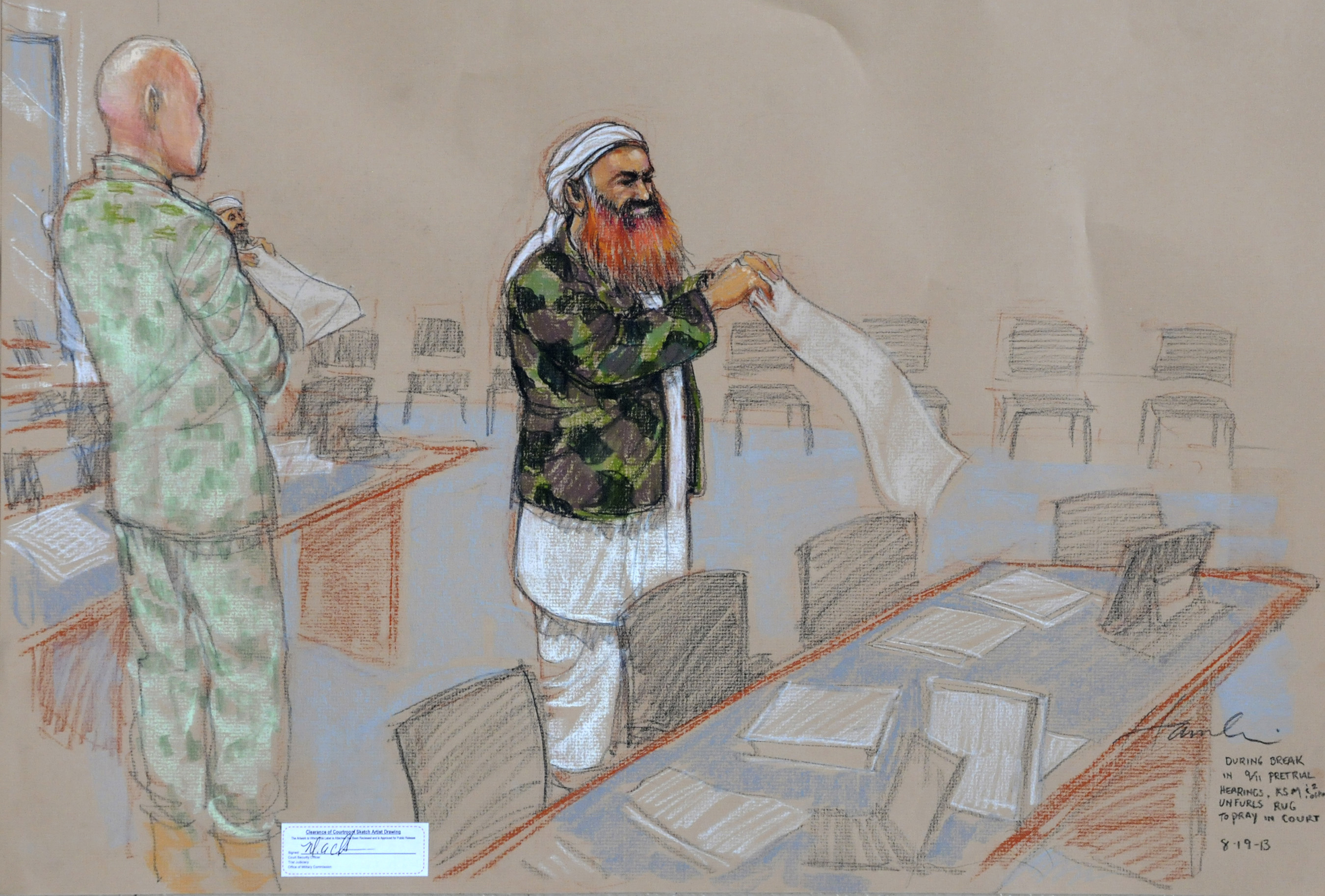 In this pool photo of a sketch by courtroom artist Janet Hamlin and reviewed by the U.S. Department of Defense, the self-proclaimed terrorist mastermind Khalid Sheikh Mohammed, with his gray beard streaked with reddish-orange dye, unfurls a prayer rug during a break in the proceedings of the pretrial hearings at the Guantanamo Bay U.S. Naval Base in Cuba on Aug. 19, 2013.