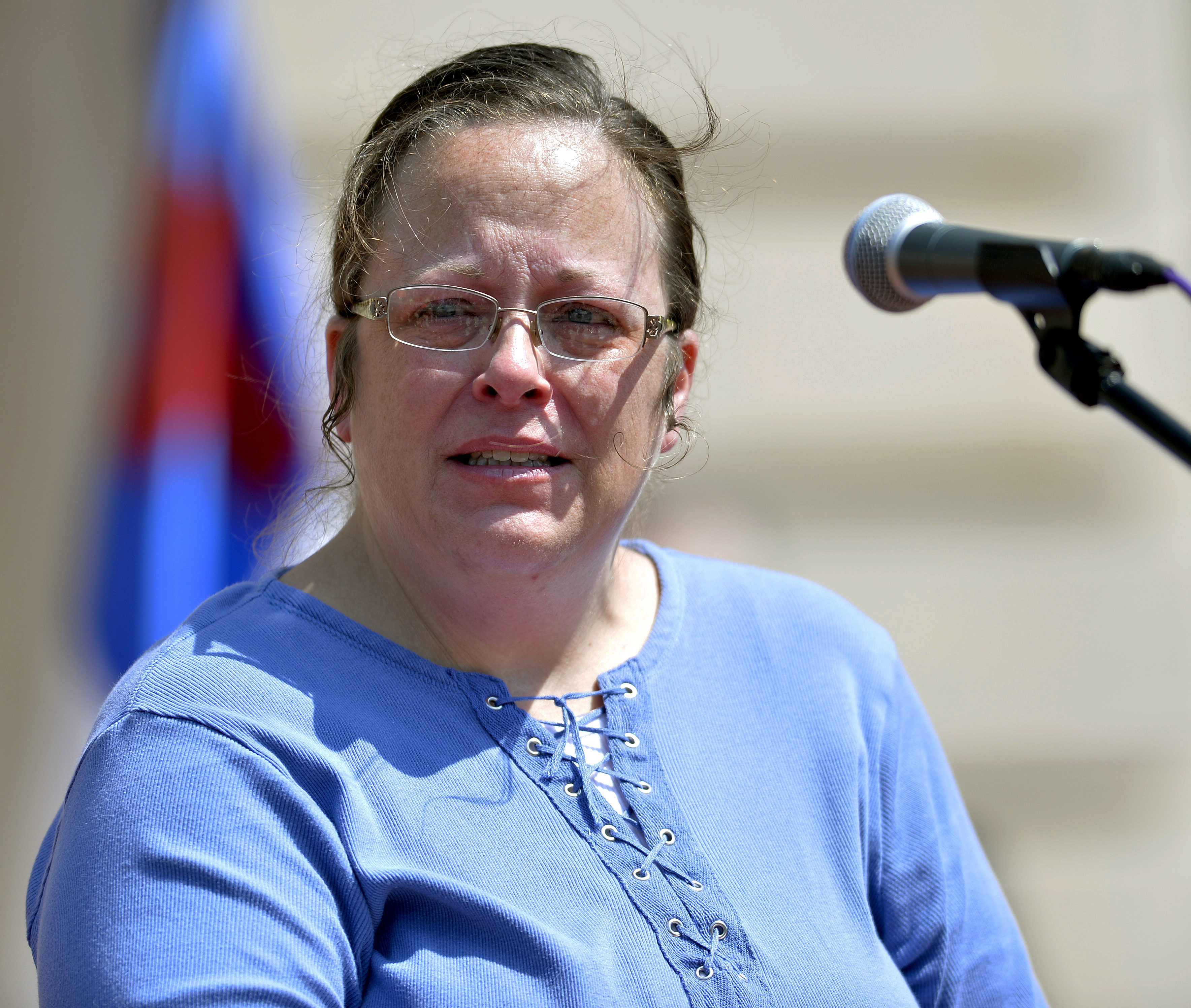 Rowan County Kentucky Clerk Kim Davis speaks to a gathering of supporters during a rally on the steps of the Kentucky State Capitol in Frankfort, Ky. on Aug. 22, 2015.