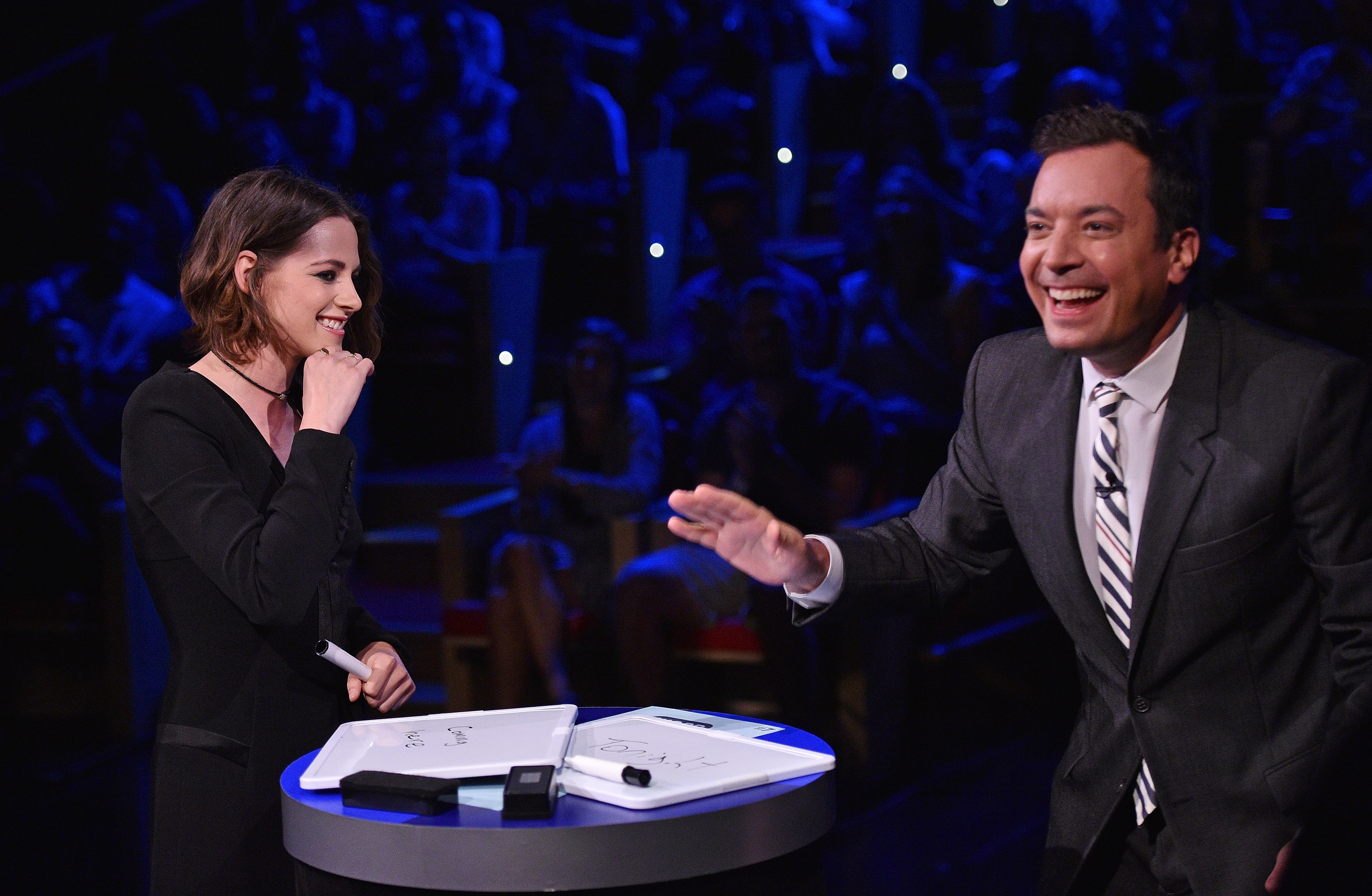 Actress Kristen Stewart and Jimmy Fallon play a game on  The Tonight Show Starring Jimmy Fallon   in New York City in August 11, 2015