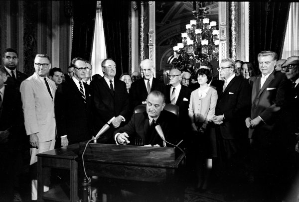 Lyndon Baines Johnson, Hubert Humphrey, John McCormack, Emanuel Celler, Luci Johnson, Everett Dirksen, Carl Albert, Carl Hayden