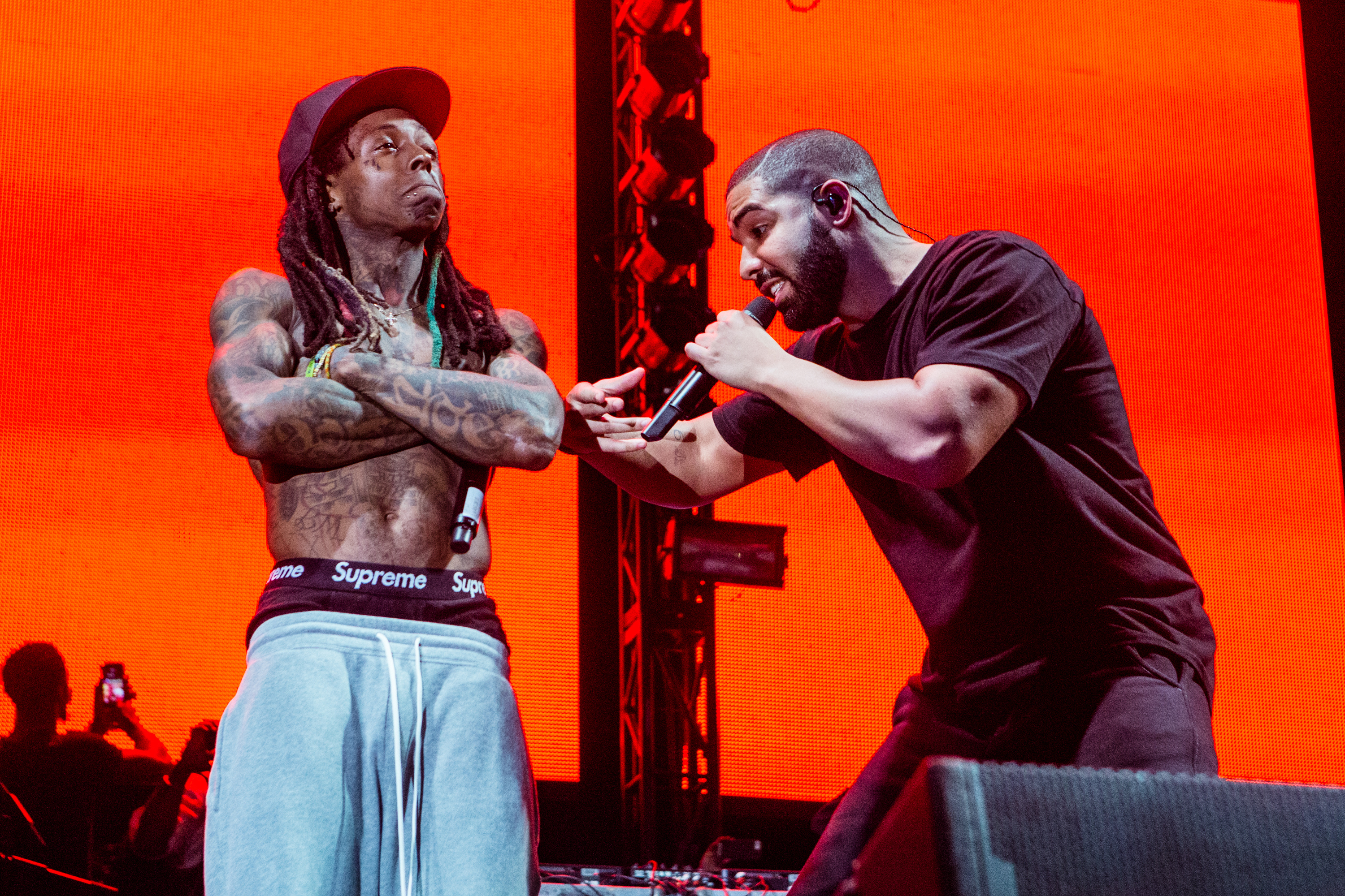 Lil Wayne and Drake perform at Lil Weezyana Festival at Champions Square on Aug. 28, 2015 in New Orleans.