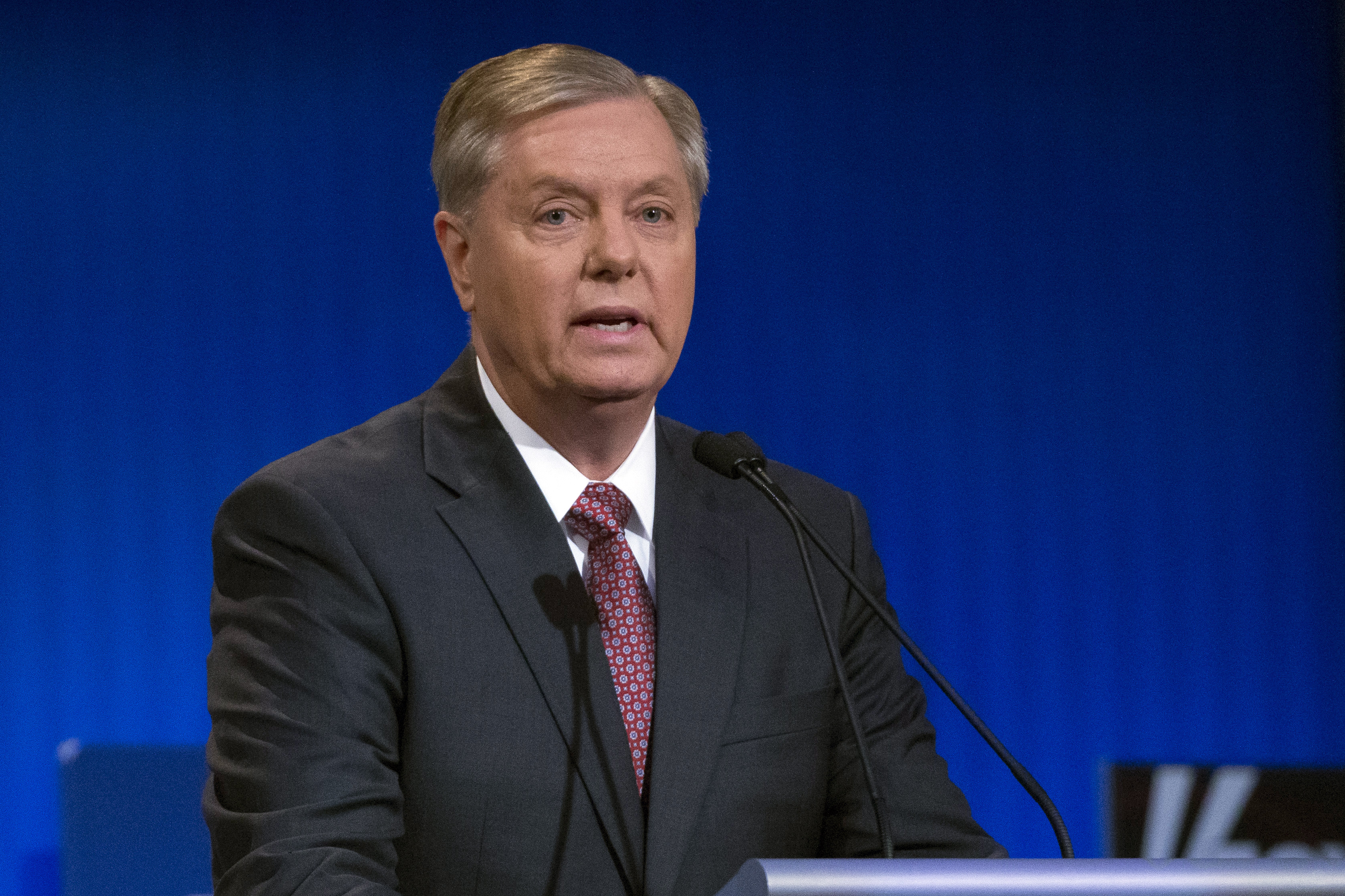 Republican presidential candidate Lindsey Graham speaks during a pre-debate forum on Aug. 6, 2015, in Cleveland.