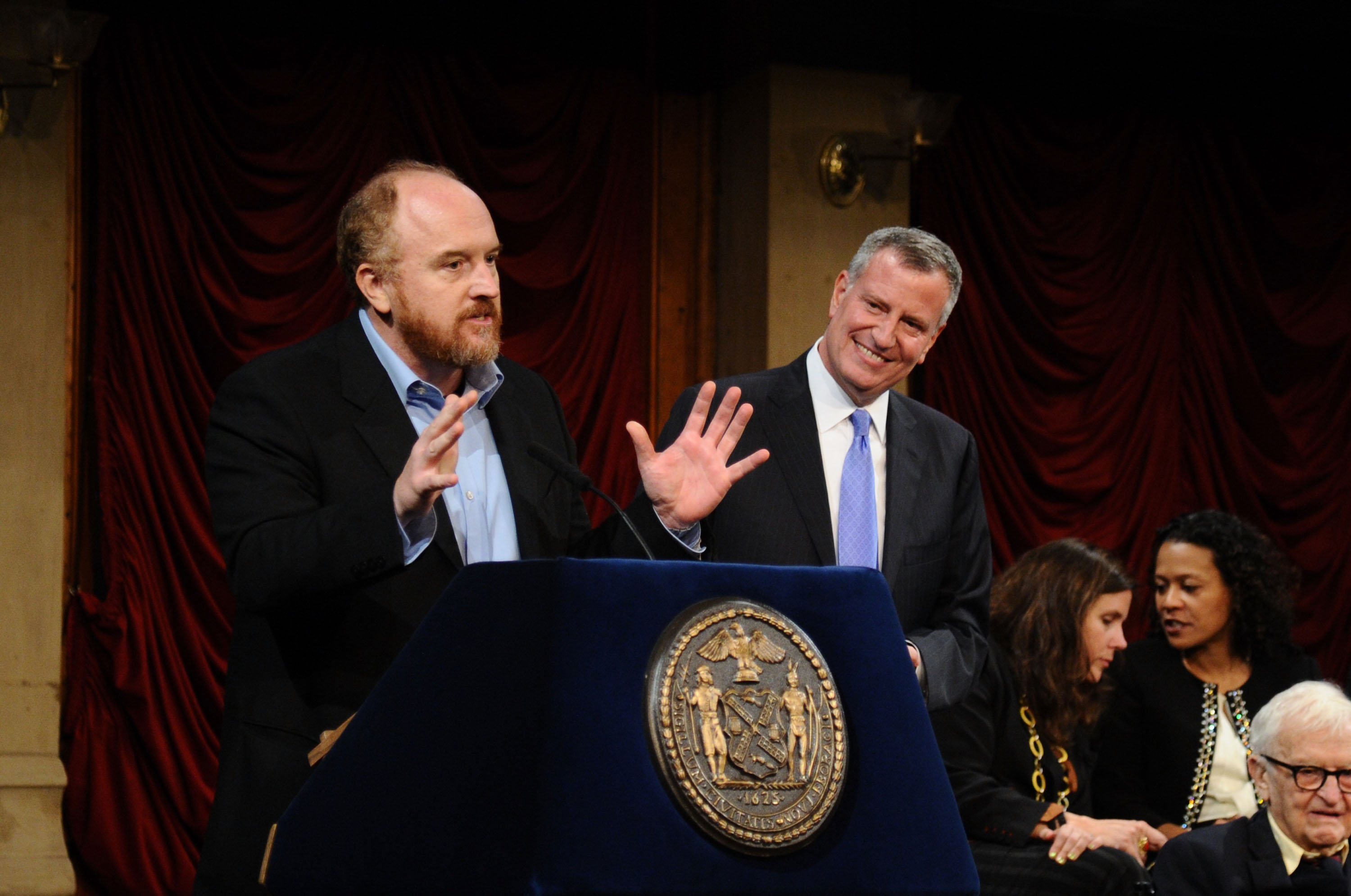 Louis C.K. speaks during  Made In NY  Awards Ceremony at Weylin B. Seymour's on Nov. 10, 2014 in Brooklyn, New York.