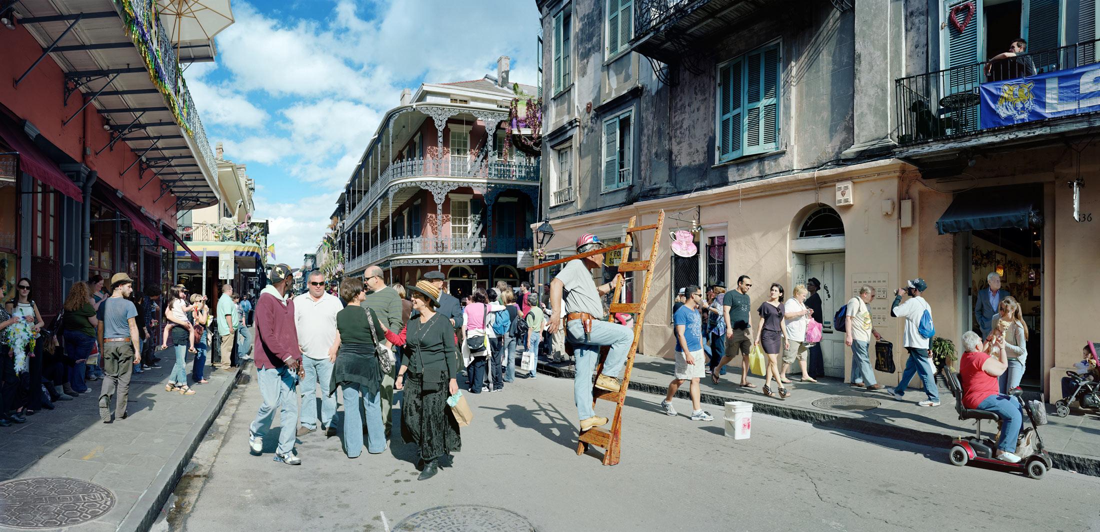 Man on Ladder, Royal Street, New Orleans.
