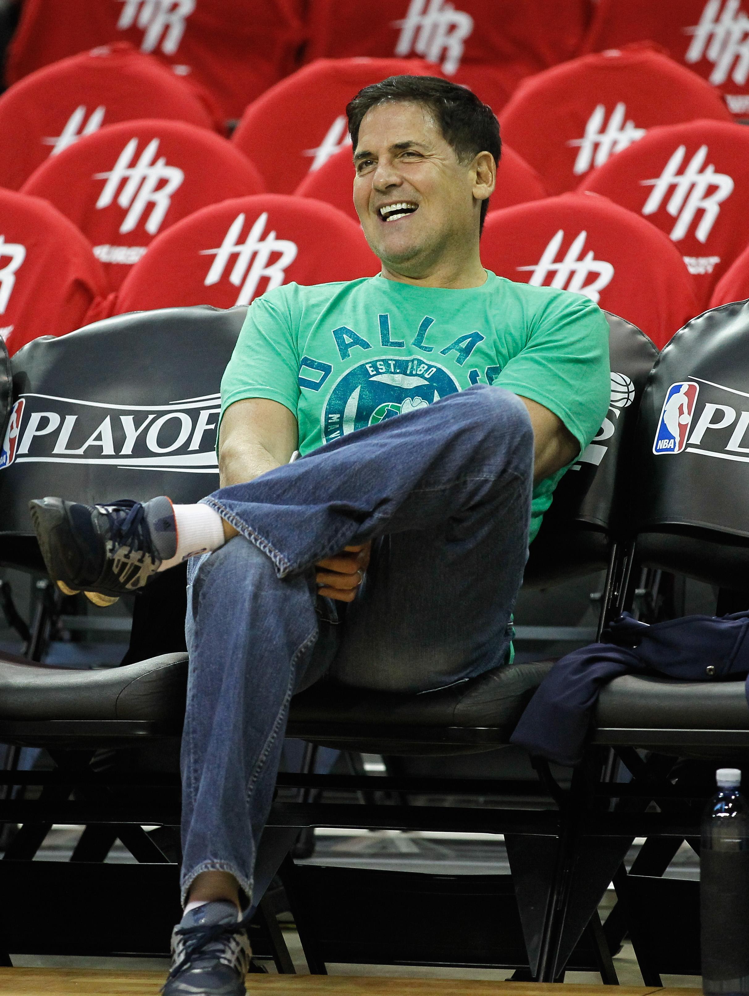 Dallas Mavericks owner Mark Cuban at the 2015 NBA Playoffs on April 21, 2015 in Houston, Texas.