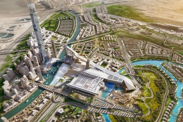 An aerial rendering of Meydan One.