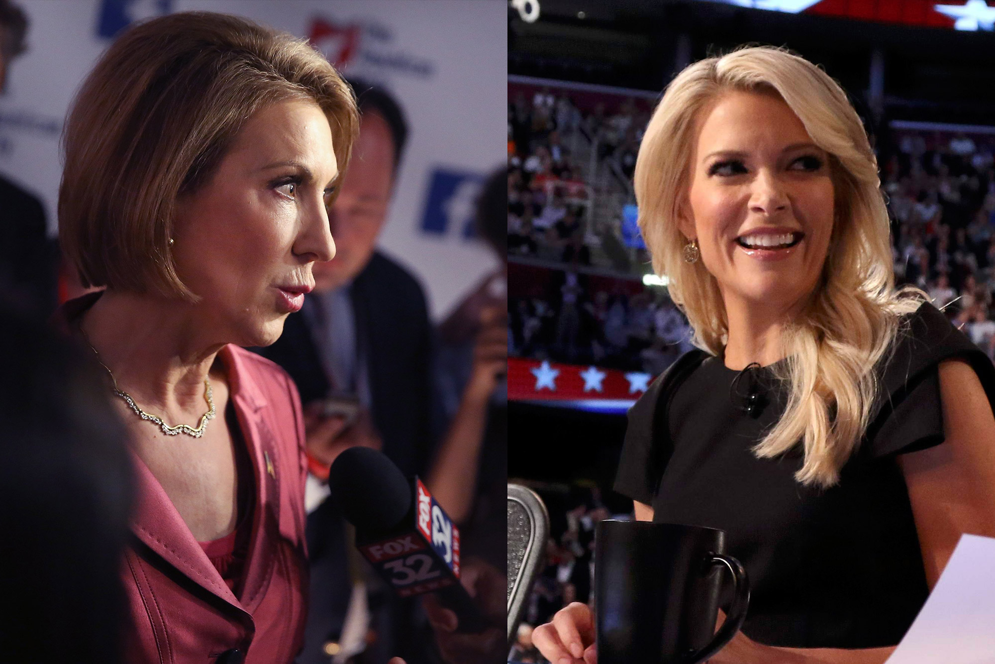 Carly Fiorina and Megyn Kelly on Aug. 6, 2015.