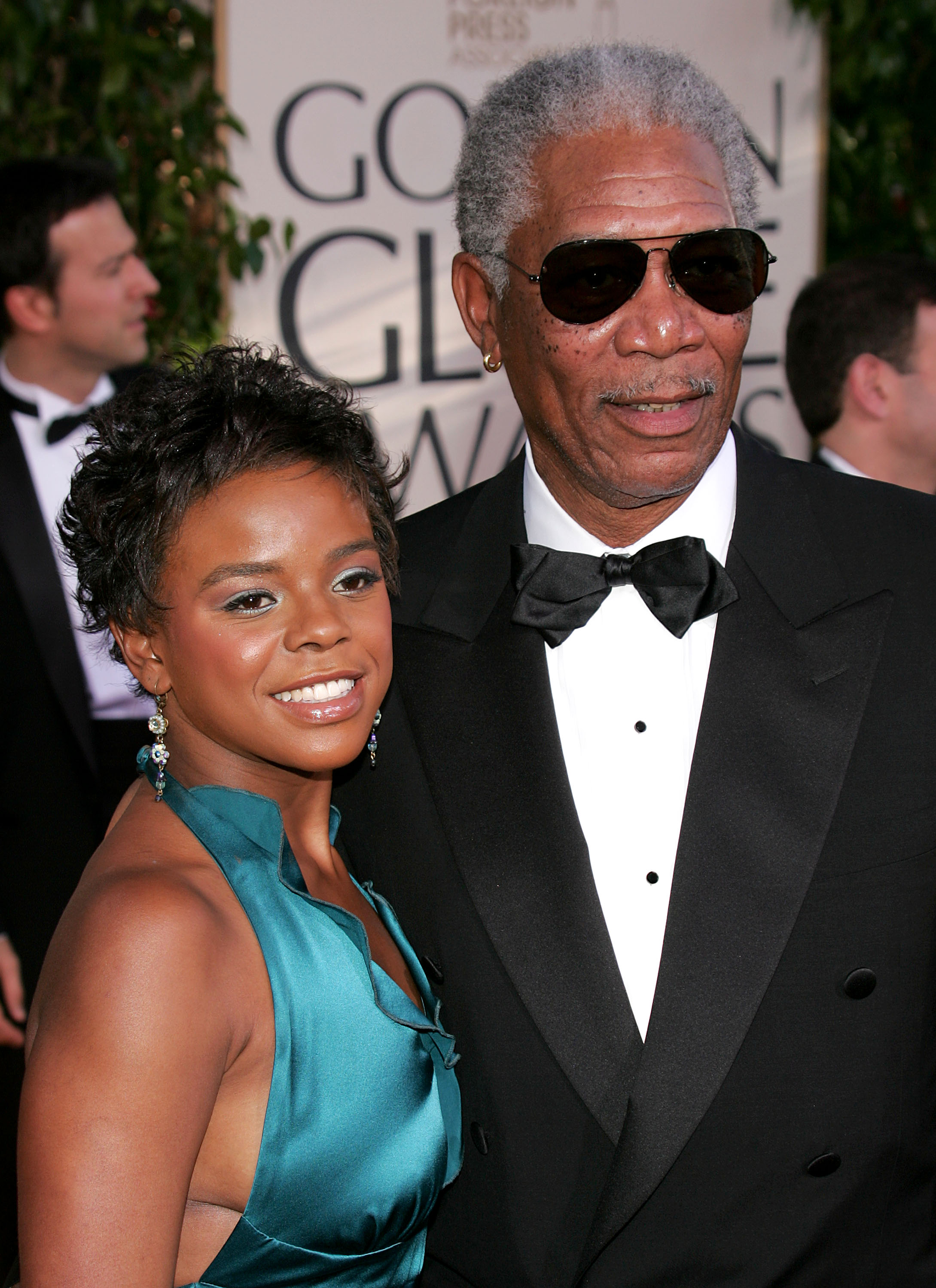 Actor Morgan Freeman and granddaughter E'Dena Hines arrive to the 62nd Annual Golden Globe Awards at the Beverly Hilton Hotel January 16, 2005 in Beverly Hills, California.