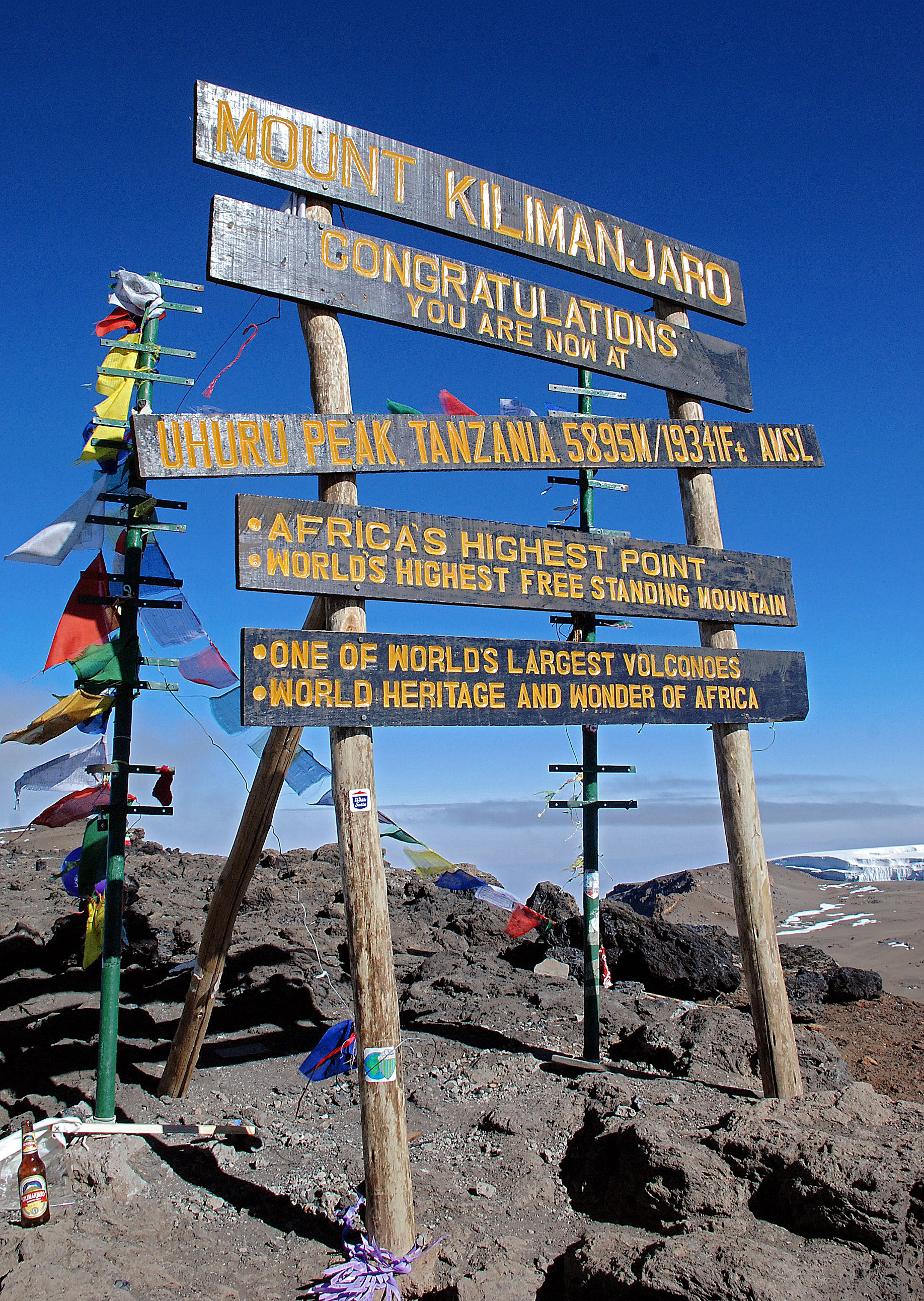 The sign at the peak of Mount Kilimanjaro, Tanzania on September 26, 2014.
