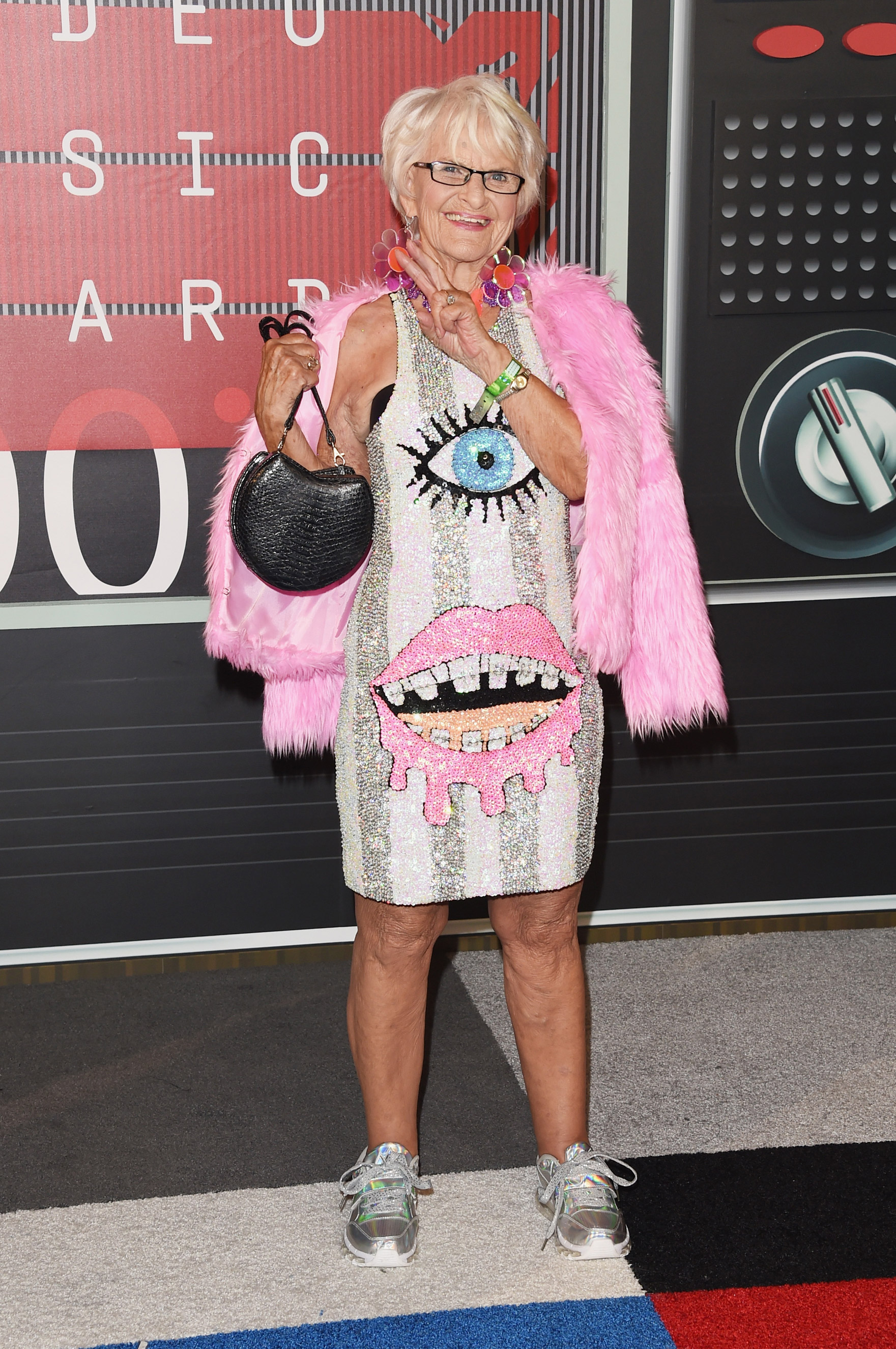 Internet personality Baddie Winkle arrives at the 2015 MTV Video Music Awards at Microsoft Theater on Aug. 30, 2015 in Los Angeles.