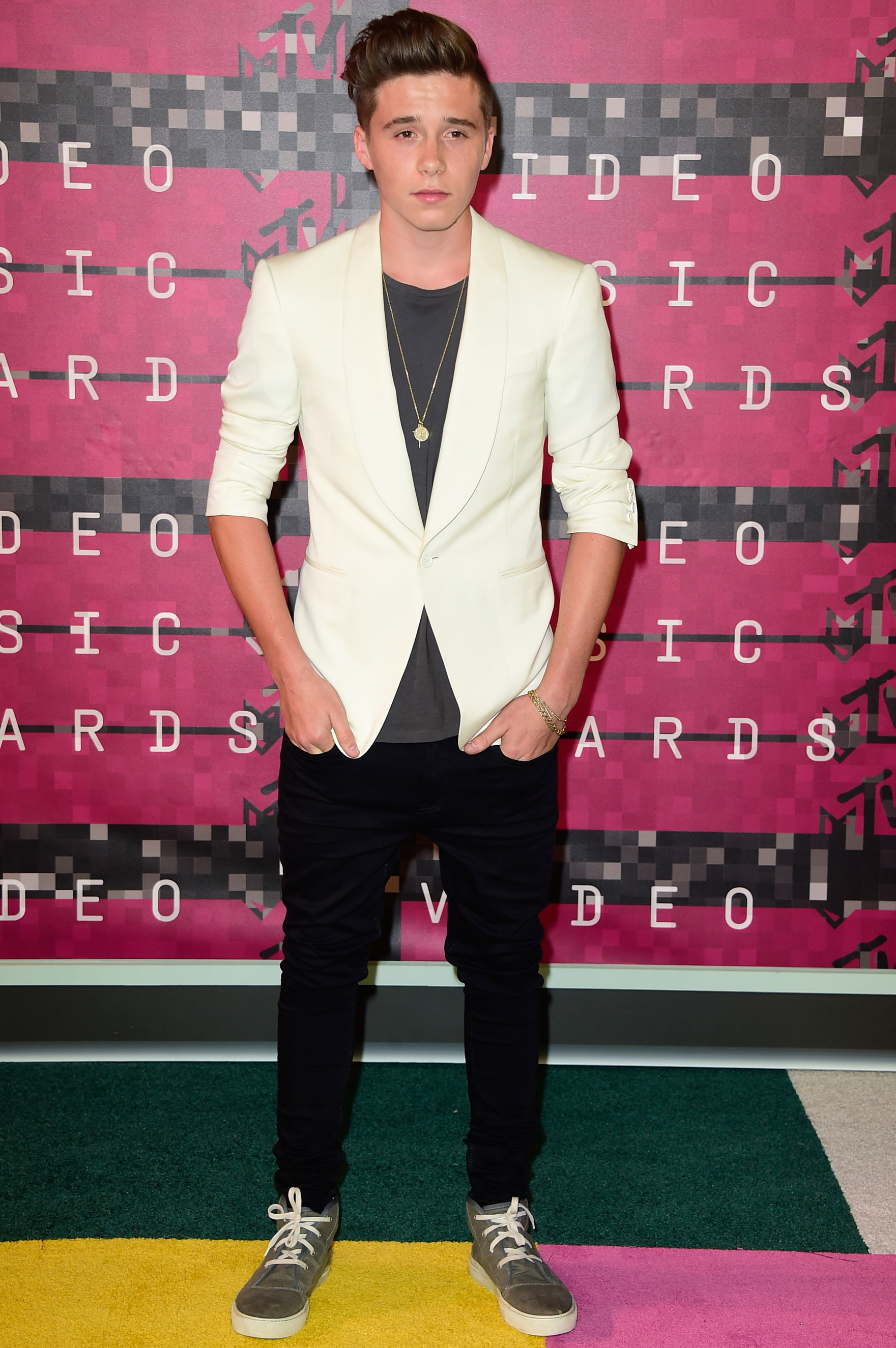 Brooklyn Beckham arrives at the 2015 MTV Video Music Awards at Microsoft Theater on Aug. 30, 2015 in Los Angeles.