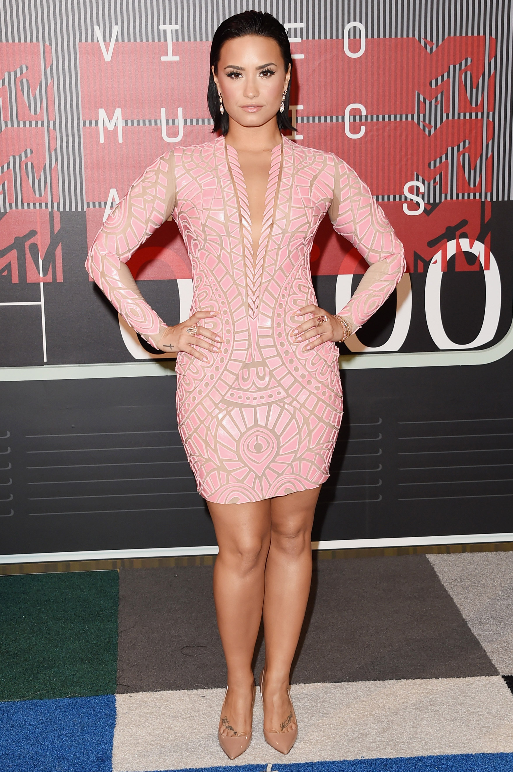 Demi Lovato arrives at the 2015 MTV Video Music Awards at Microsoft Theater on Aug. 30, 2015 in Los Angeles.