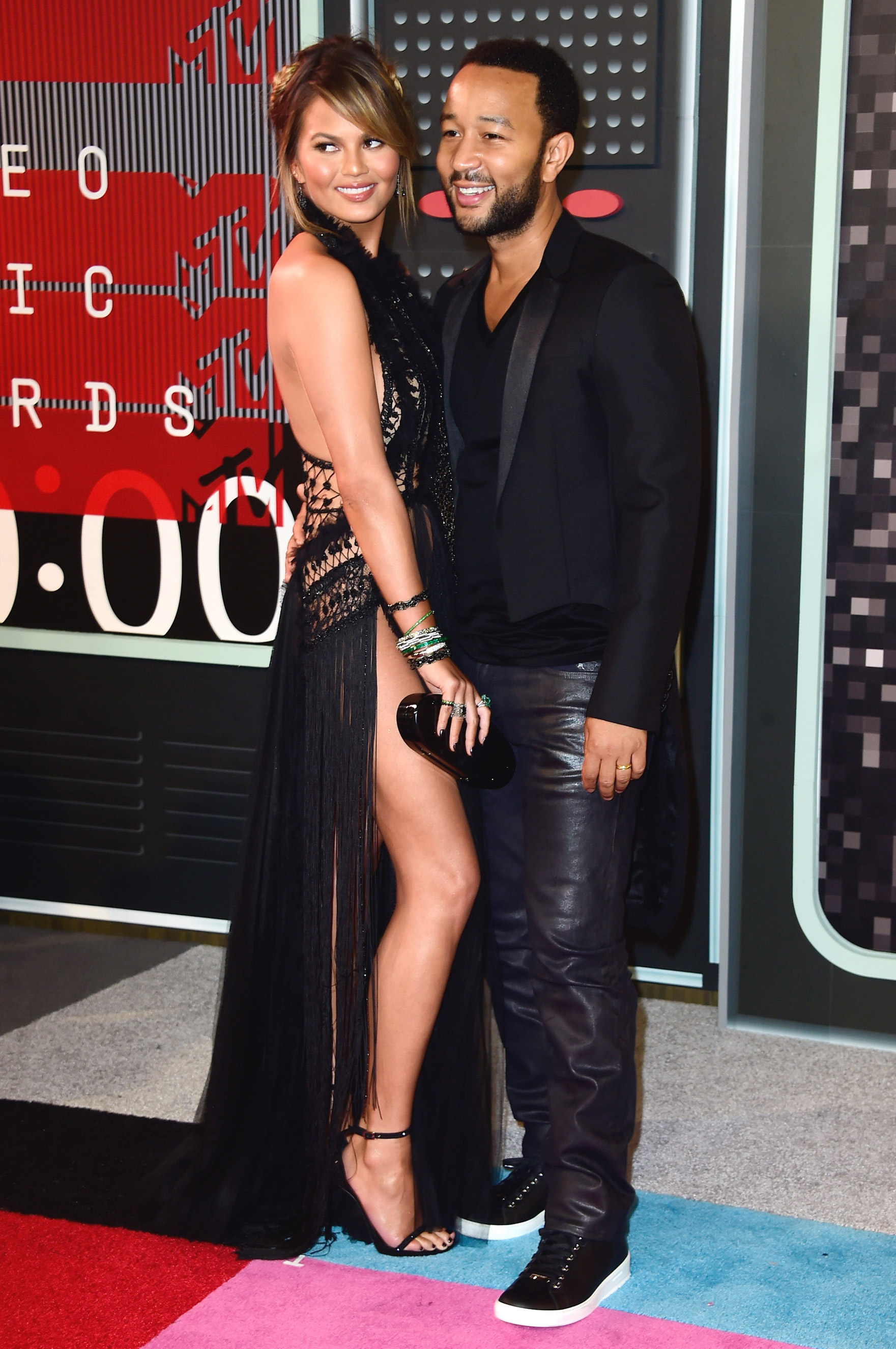 From left:  Chrissy Teigen and  John Legend arrives at the 2015 MTV Video Music Awards at Microsoft Theater on Aug. 30, 2015 in Los Angeles.