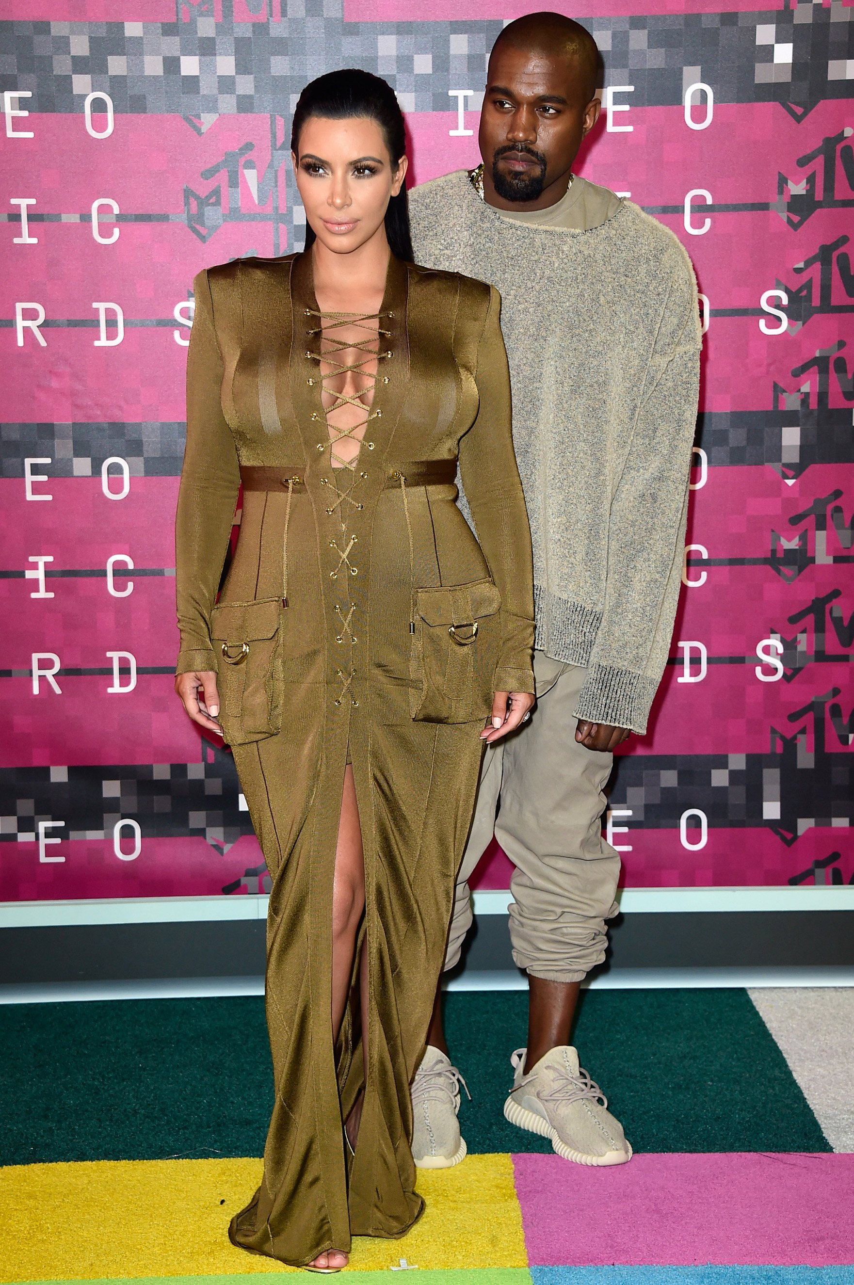 From left: Kim Kardashian and Kanye West arrive at the 2015 MTV Video Music Awards at Microsoft Theater on Aug. 30, 2015 in Los Angeles.