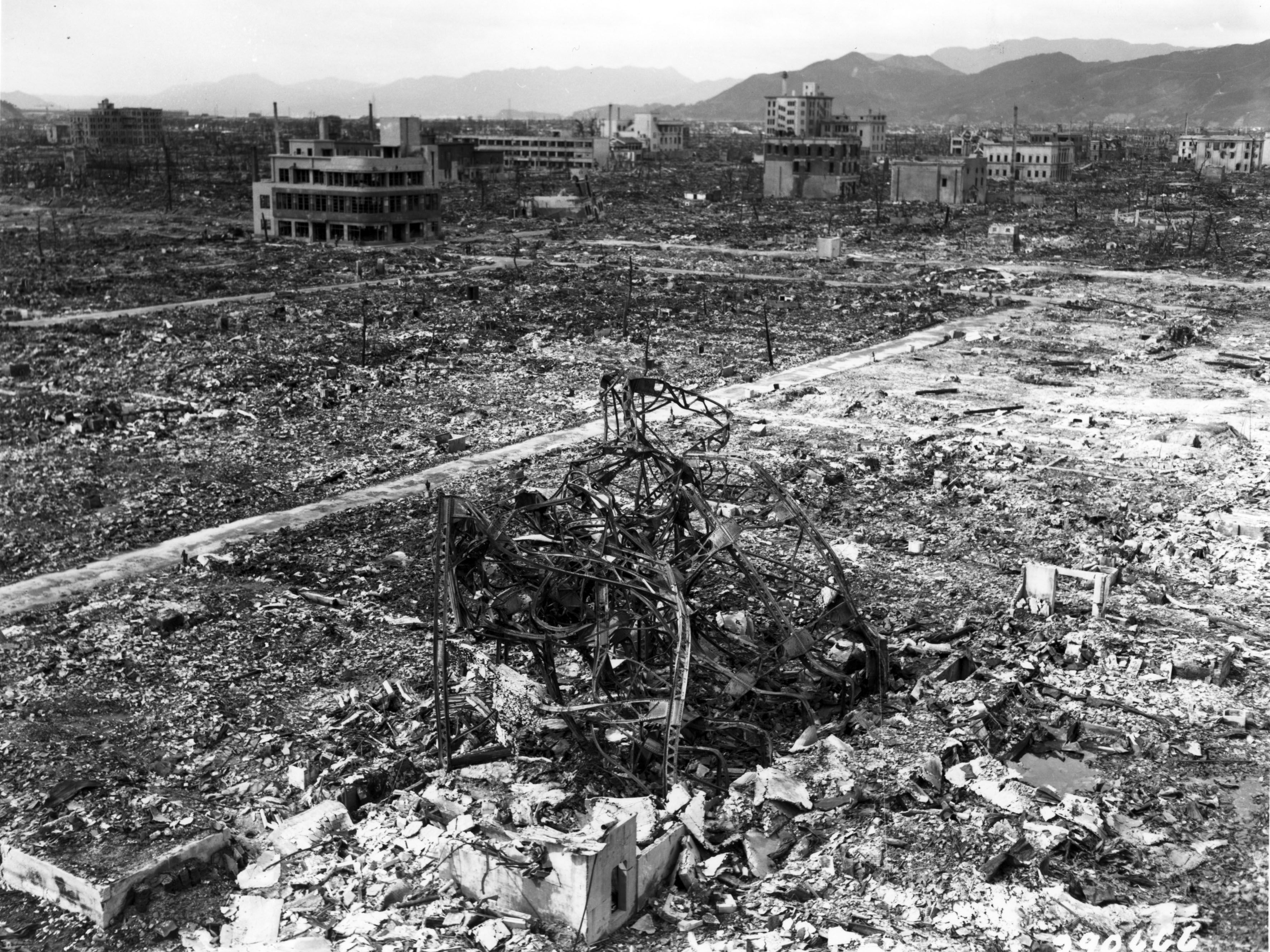 The aftermath of the bombing at Nagasaki in 1945.