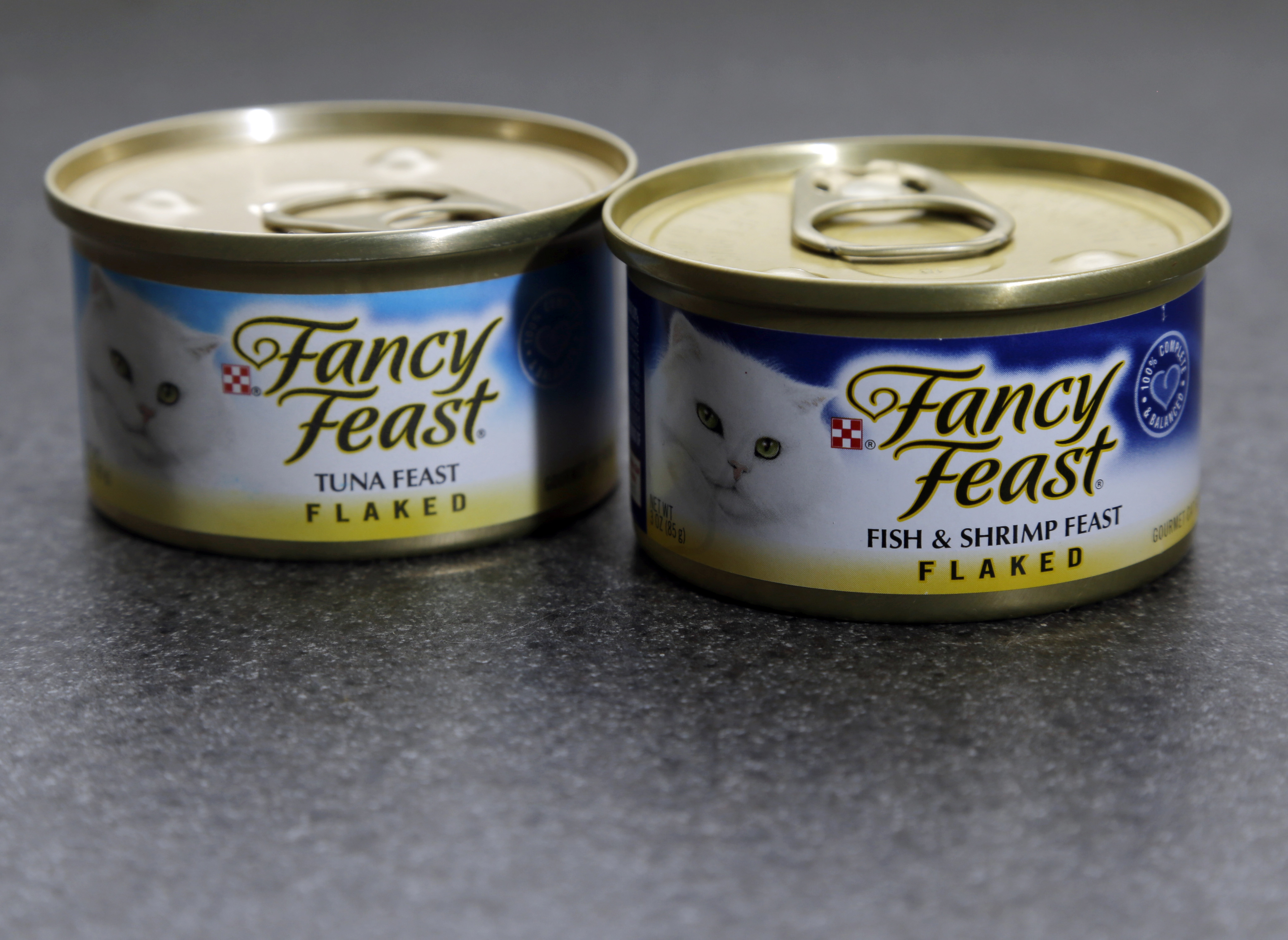 Fancy Feast cat food cans are photographed in Boston on March 19, 2015.
