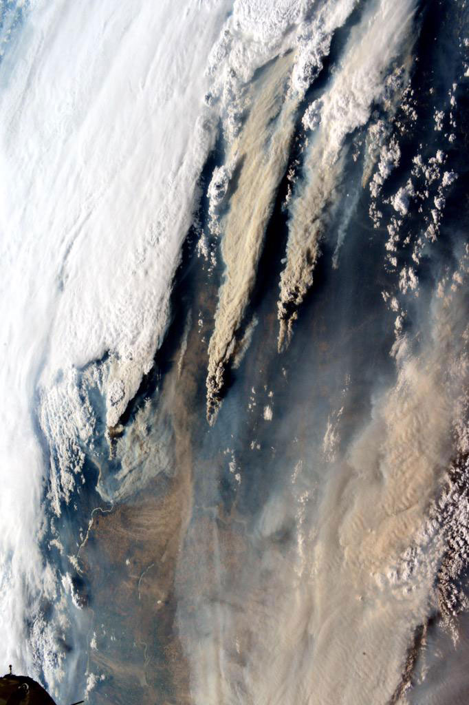An image of the wildfires in the Northwest taken from the International Space Station and released on Aug. 17, 2015.